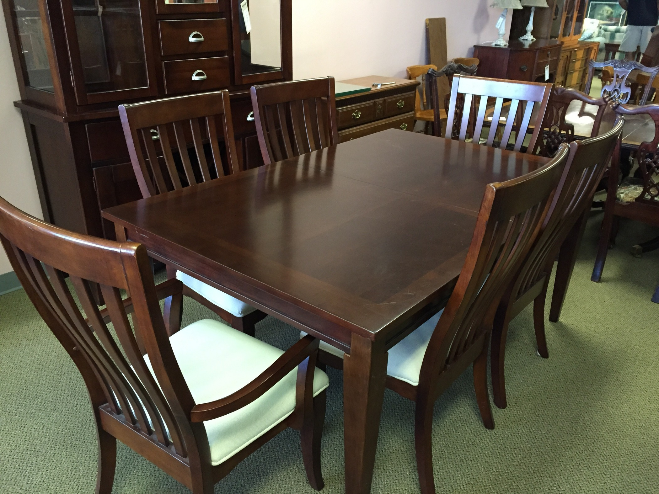 cherry finish dining room set allegheny furniture consignment