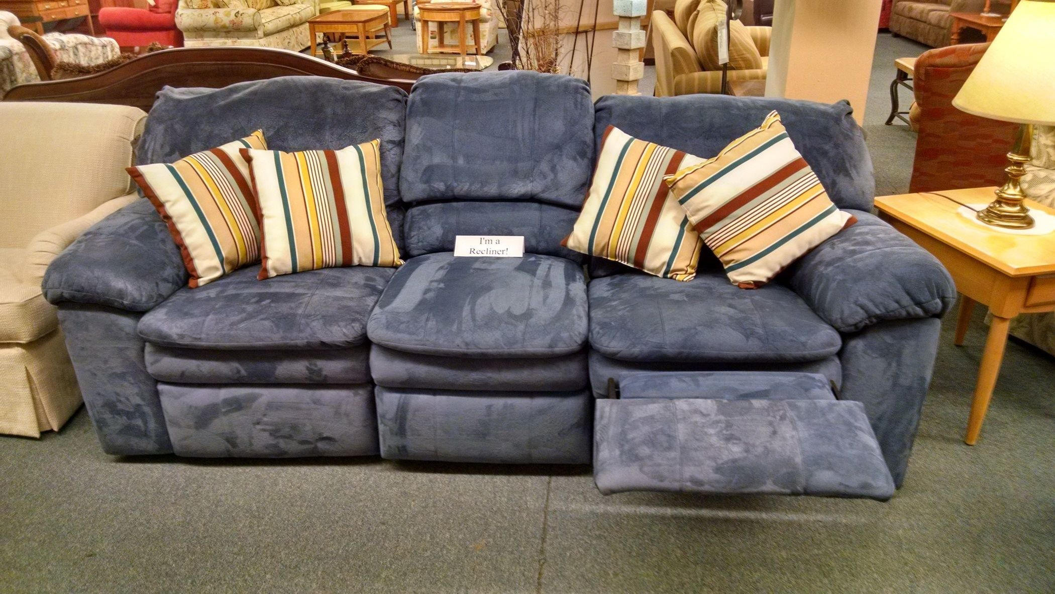 Berkline Blue Reclining Sofa Delmarva Furniture Consignment