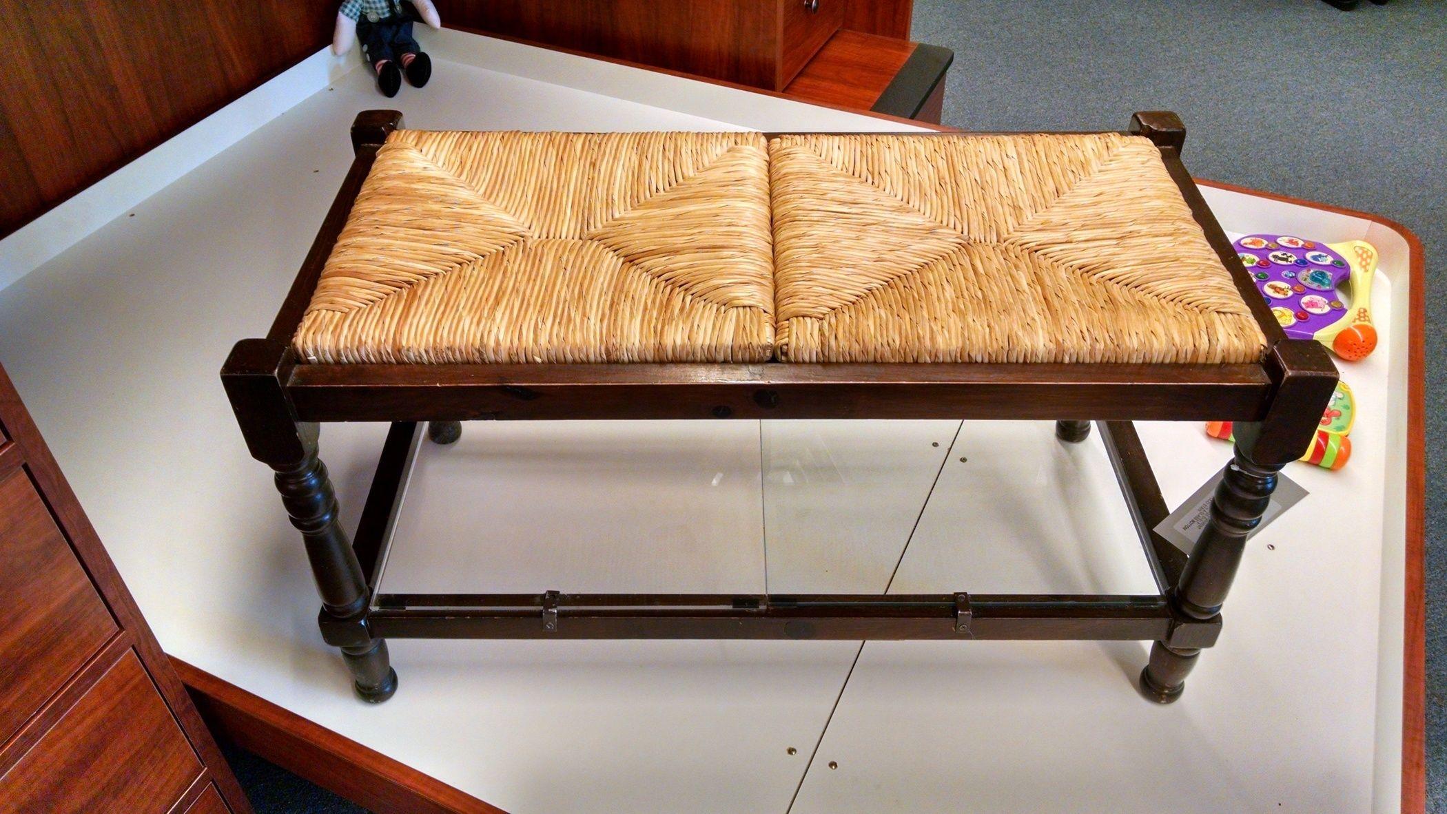 Rush Seat Bench W Glass Shelf Delmarva Furniture Consignment