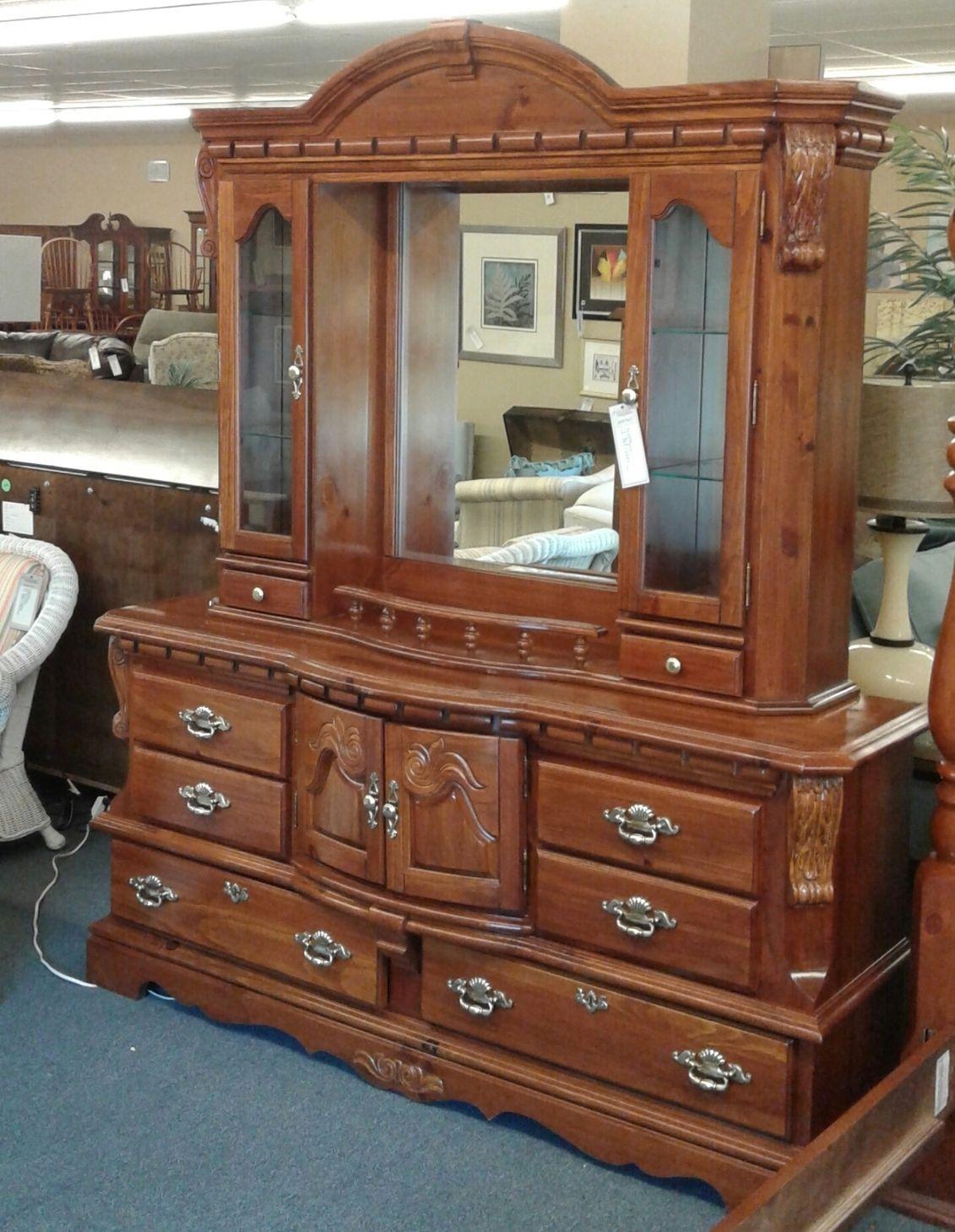 Pine Dresser Mirror Hutch Top Delmarva Furniture Consignment