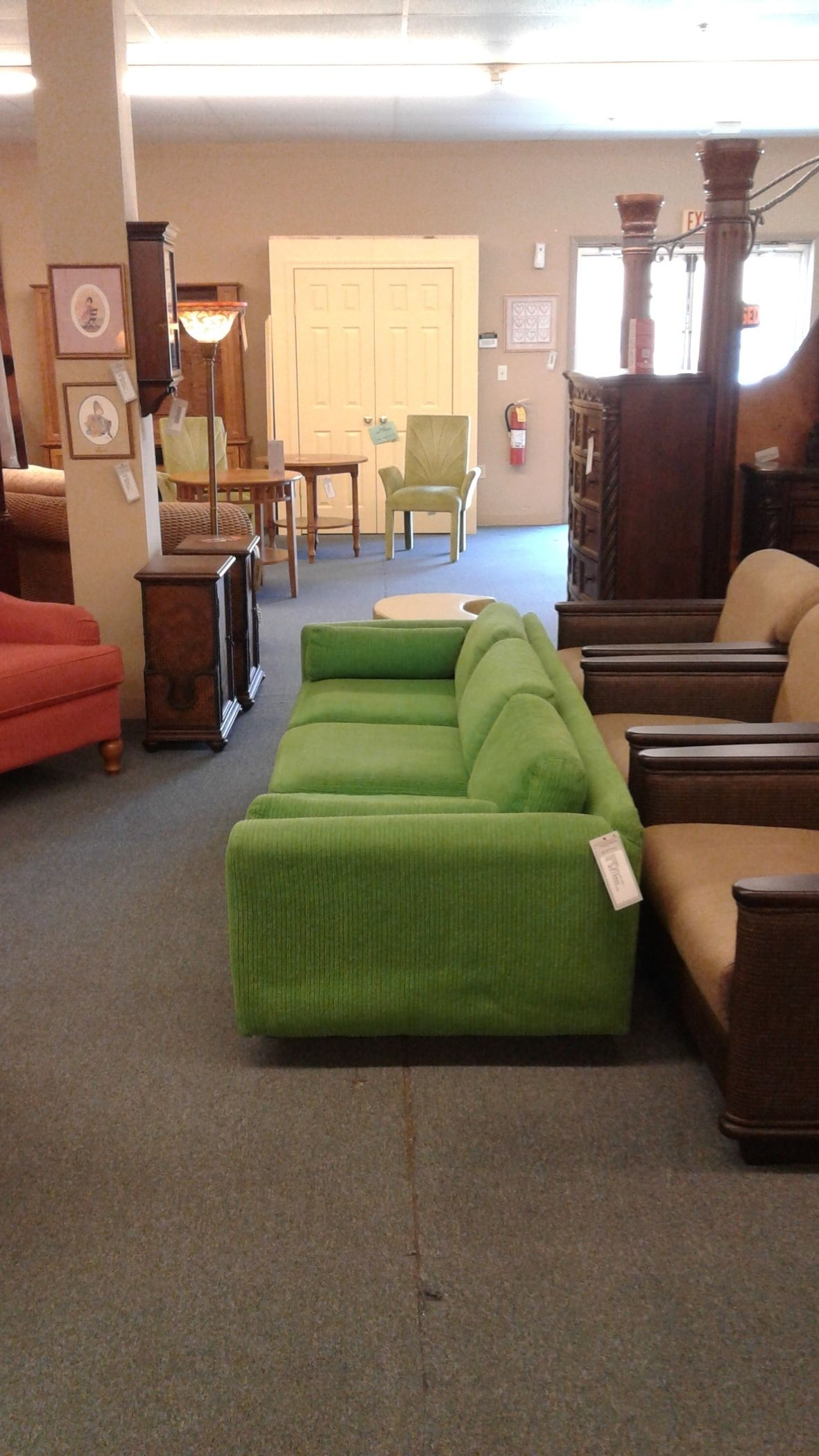 Kelly Green Corduroy Sofa Delmarva Furniture Consignment