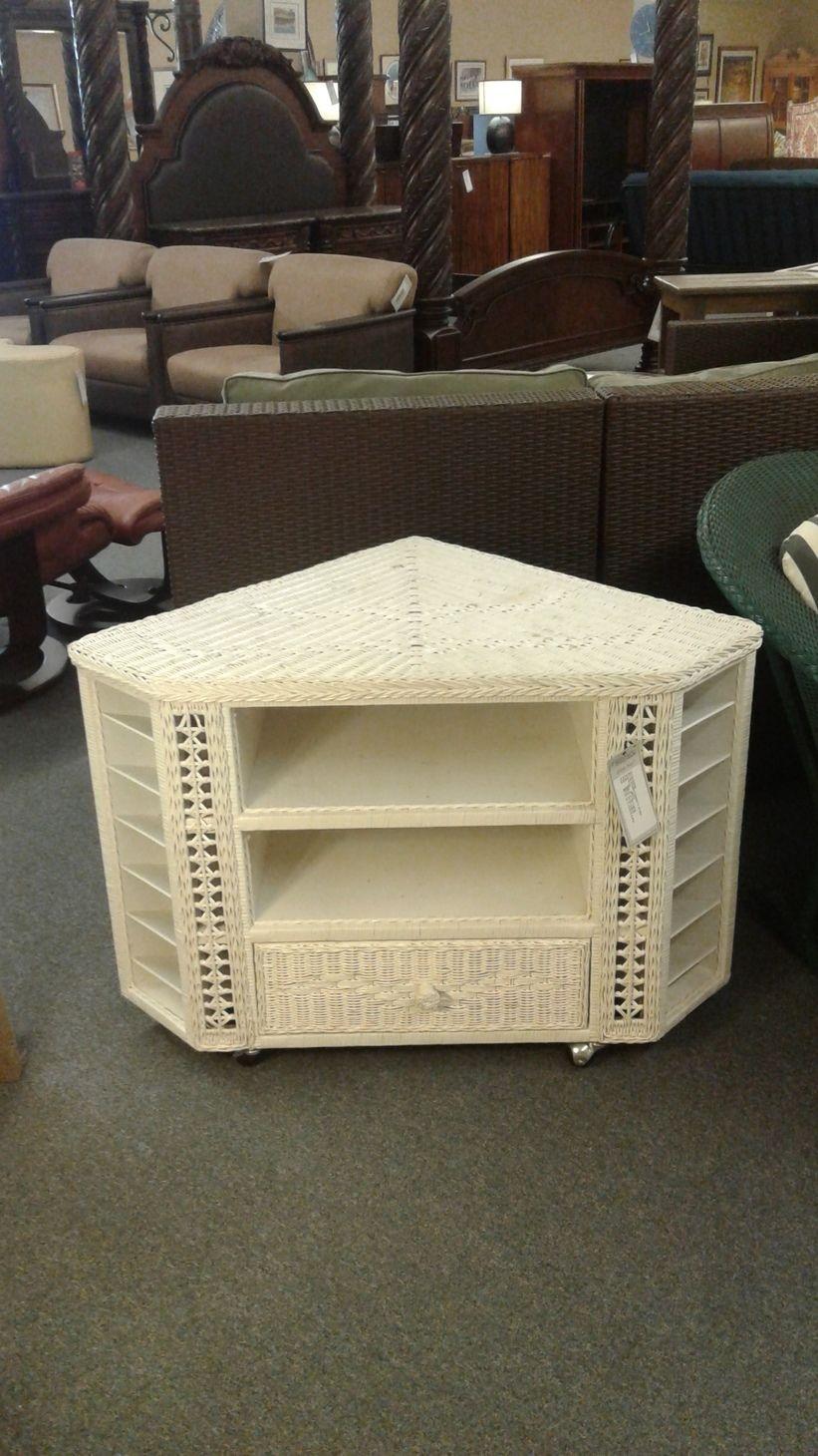 White Wicker Corner Tv Stand Delmarva Furniture Consignment