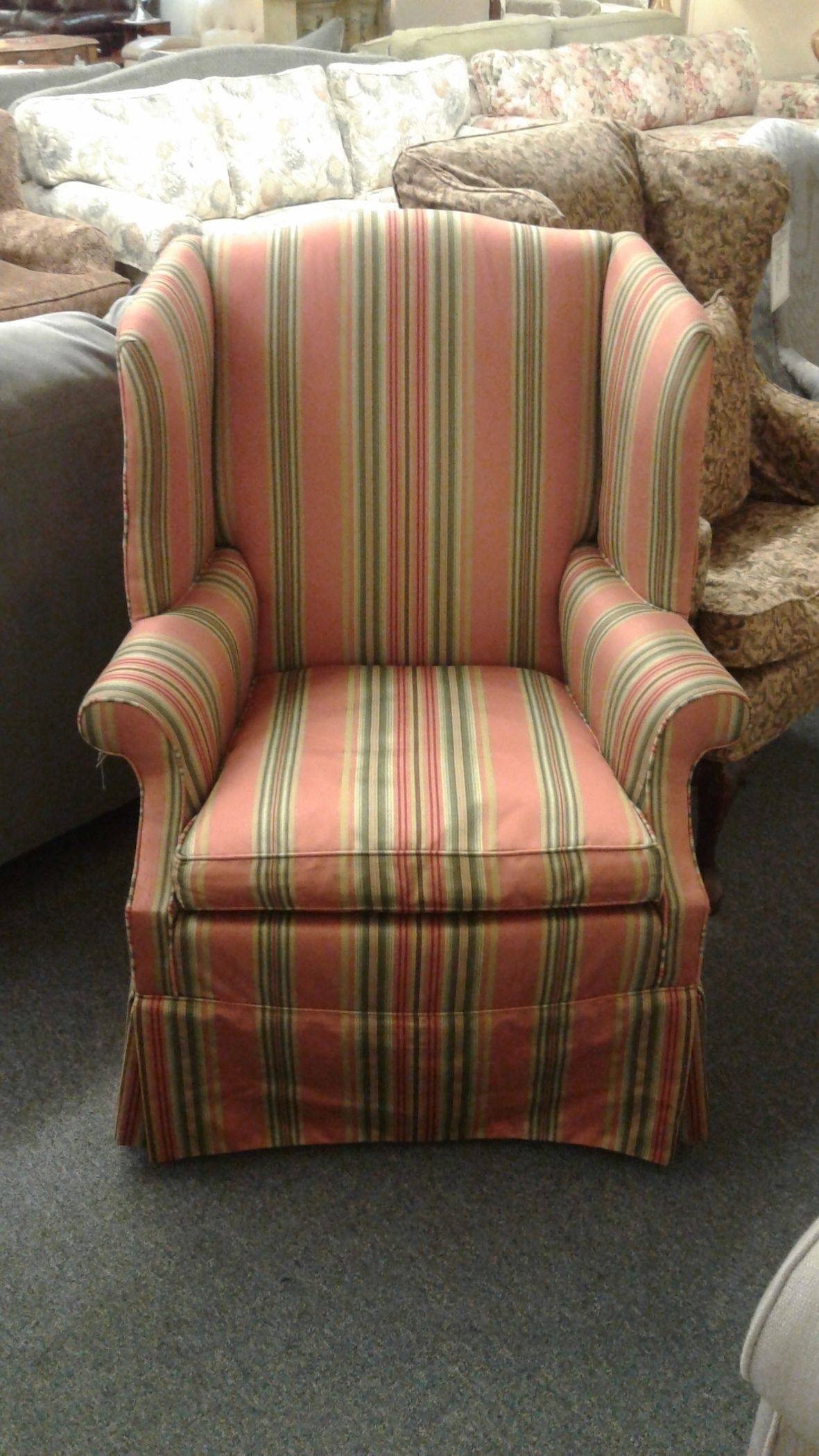 Striped Wing Back Chair Delmarva Furniture Consignment