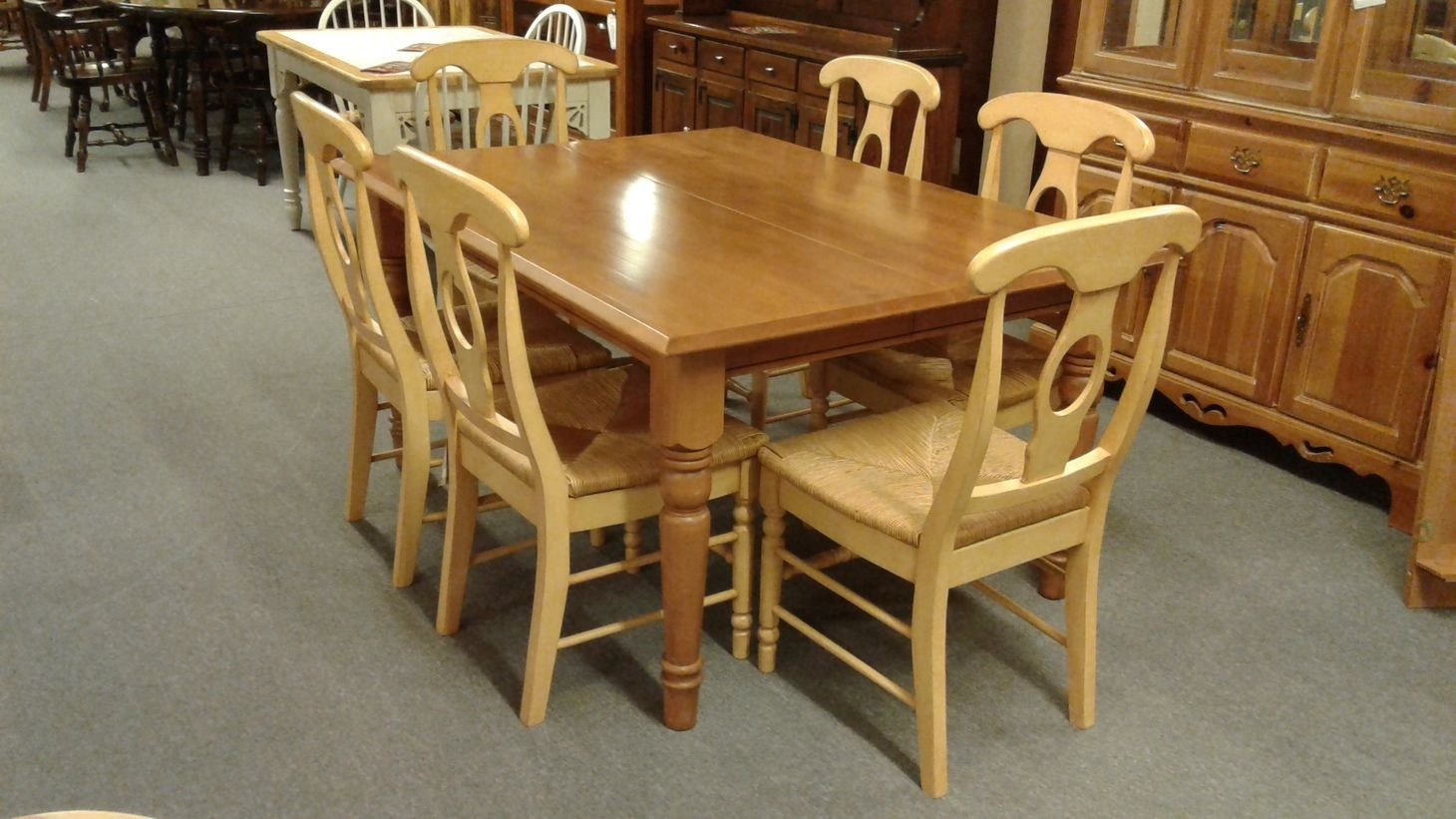 Alder Wood Table 6 Chairs Delmarva Furniture Consignment