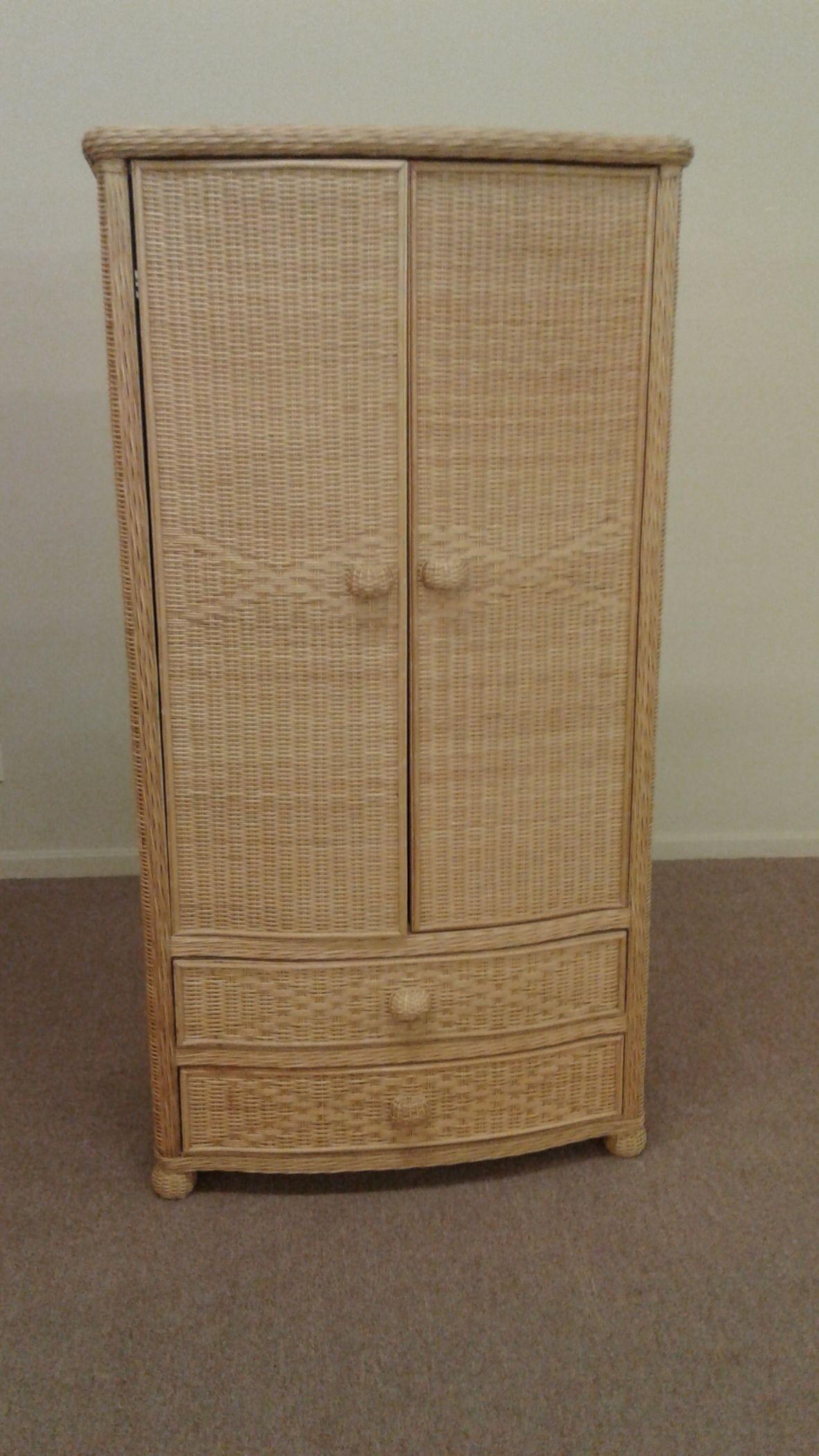 NATURAL COLOR WICKER ARMOIRE | Delmarva Furniture Consignment