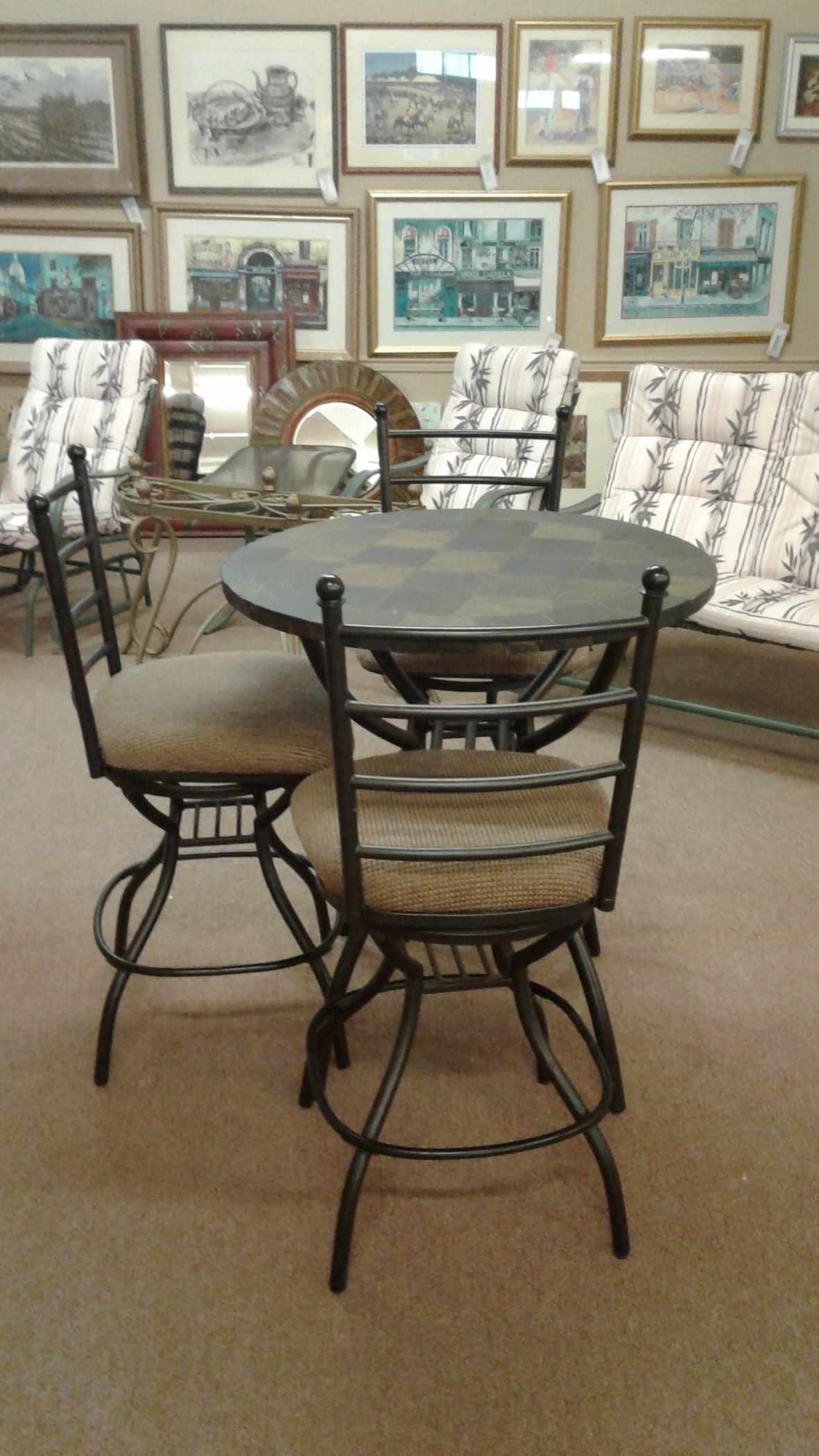 Slate Top Pub Table 3 Chairs Delmarva Furniture Consignment