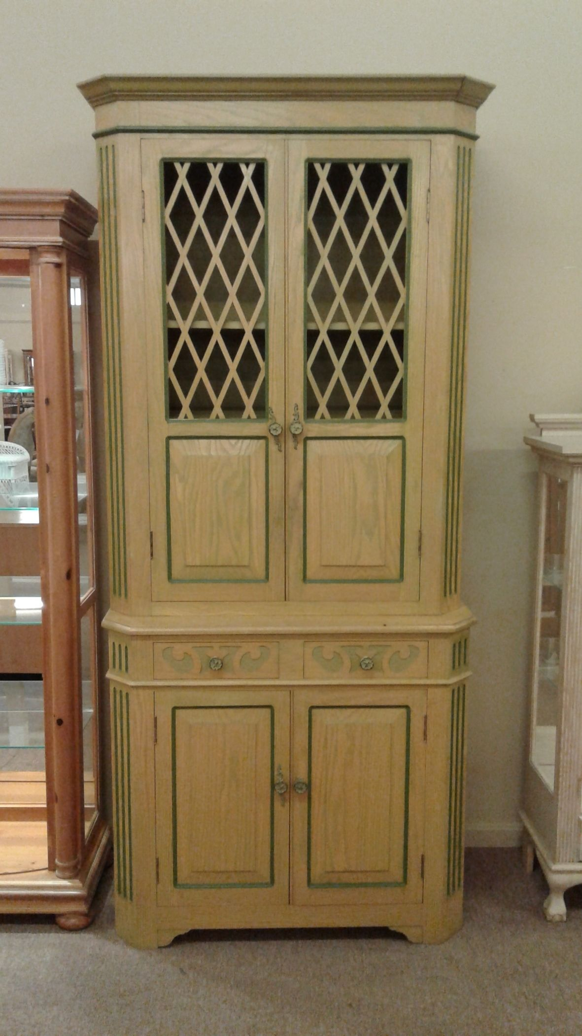 cabinet drawer oak display armoire delmarva furniture consignment 12838