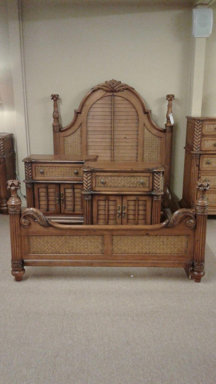 Palm Tree Queen Bed W 2 Ntstds Delmarva Furniture Consignment