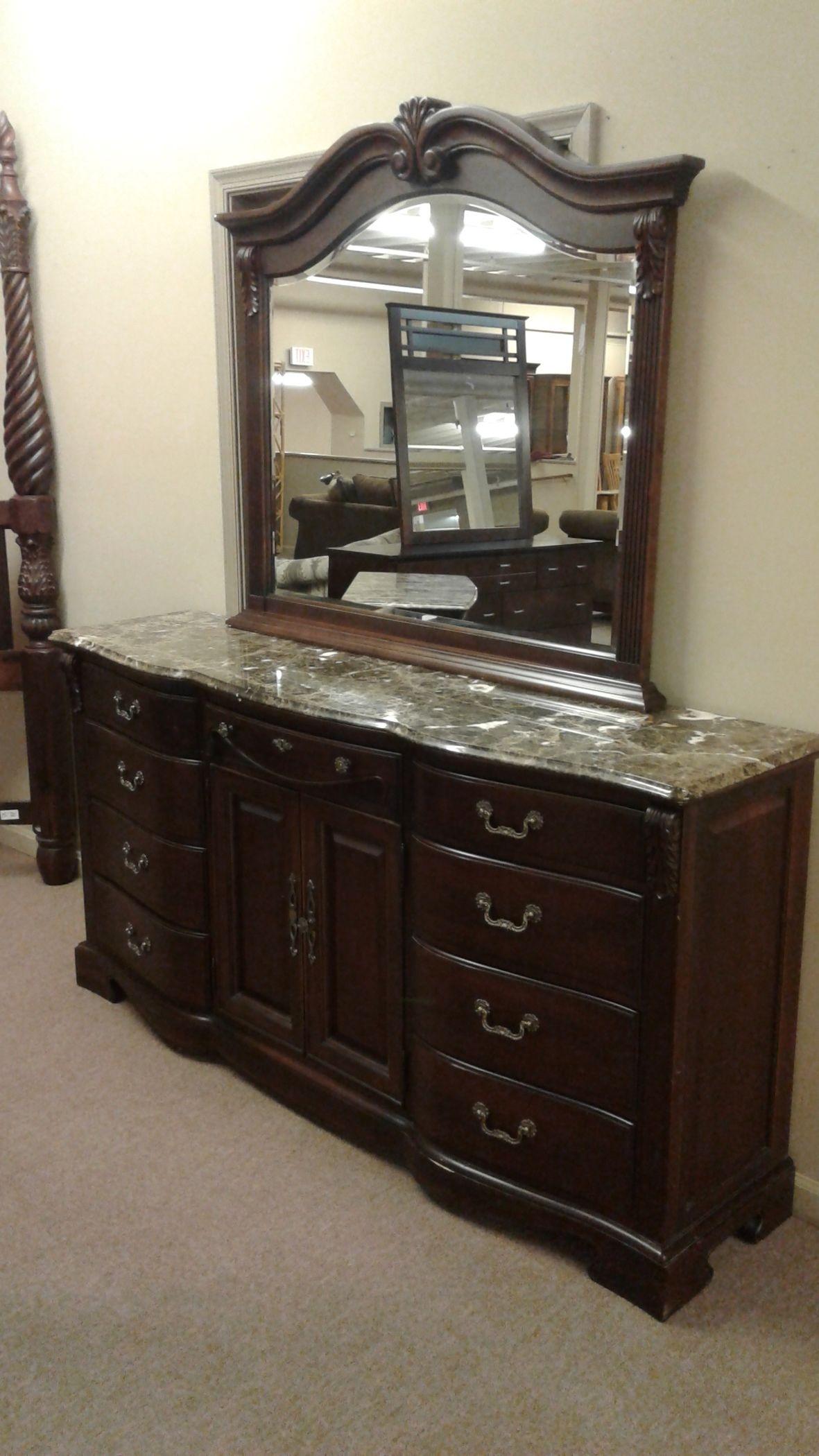 Marble Top Dresser Mirror Delmarva Furniture Consignment