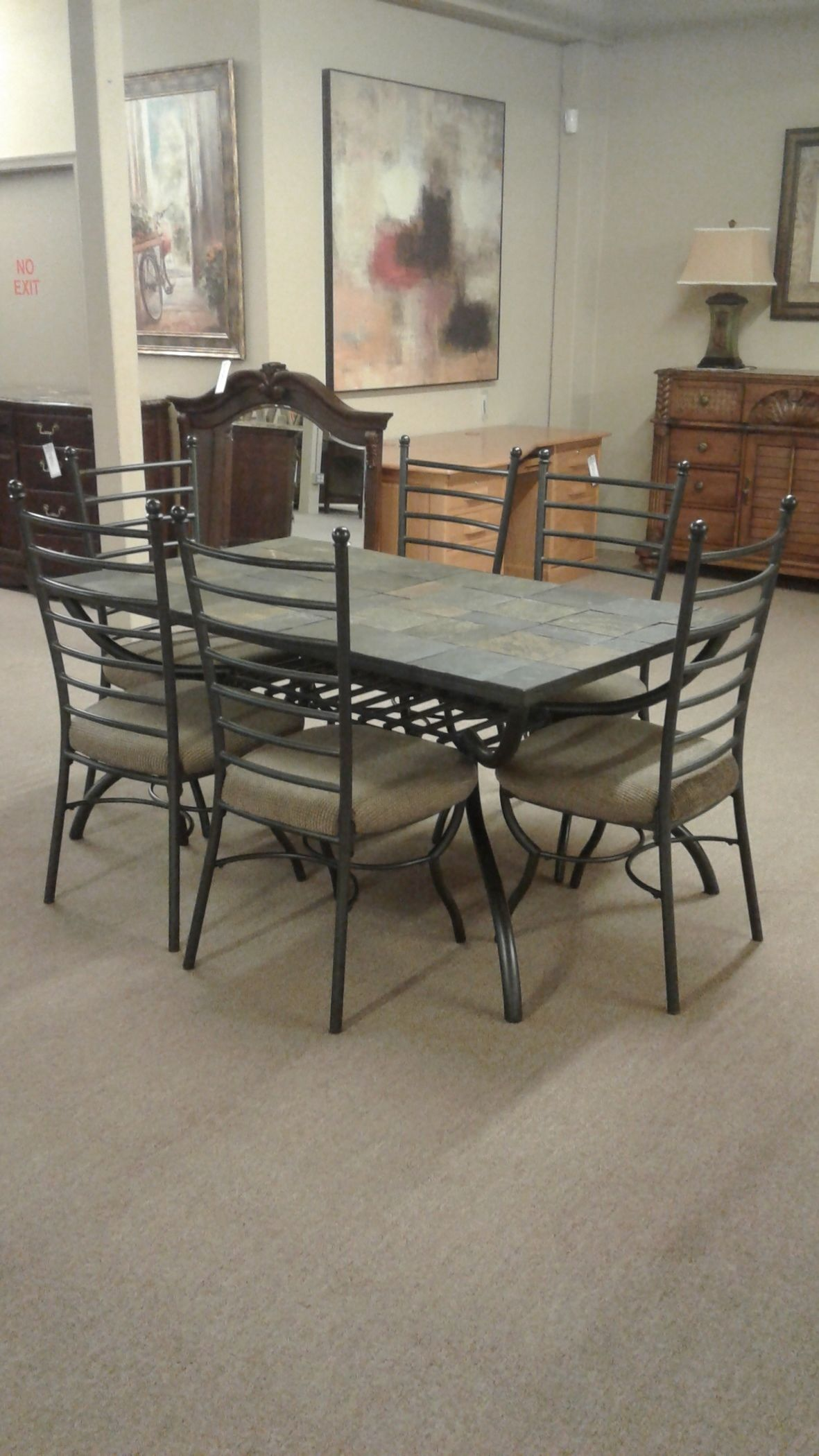 Ashley Slate Table W 6 Chairs Delmarva Furniture Consignment