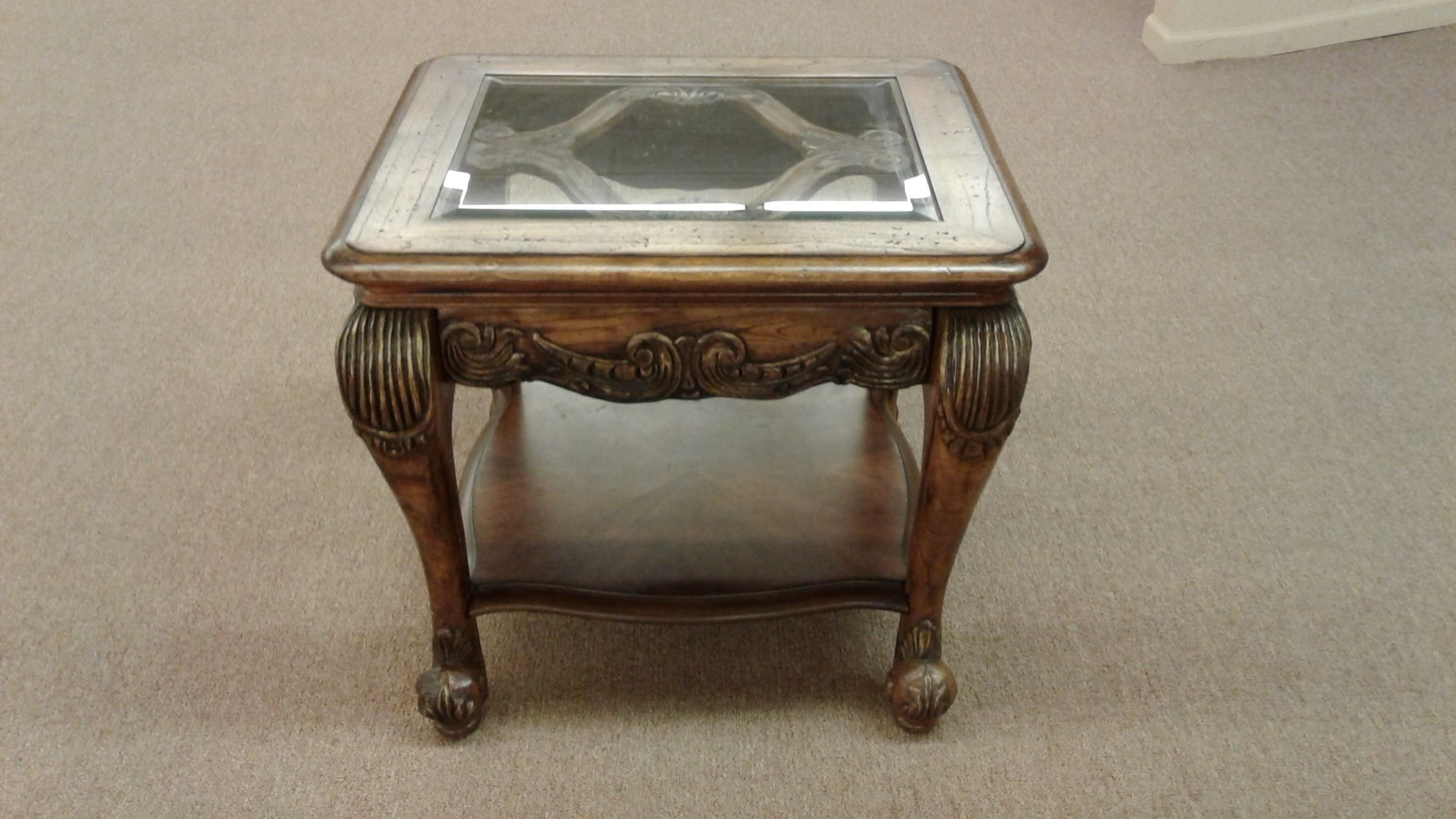 Schnadig glass top end table delmarva furniture consignment Schnadig coffee table