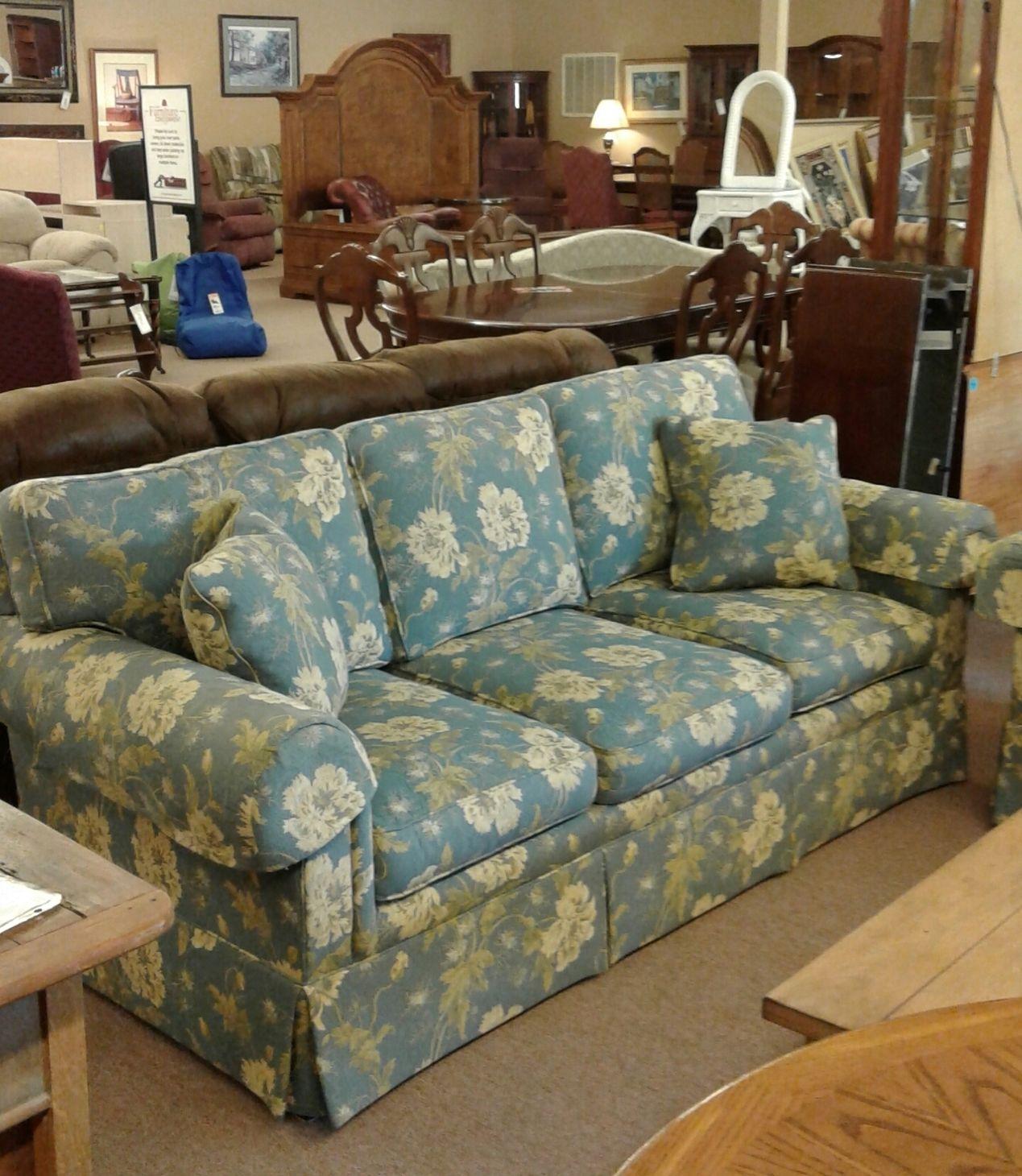Sherrill Blue Floral Sofa Delmarva Furniture Consignment