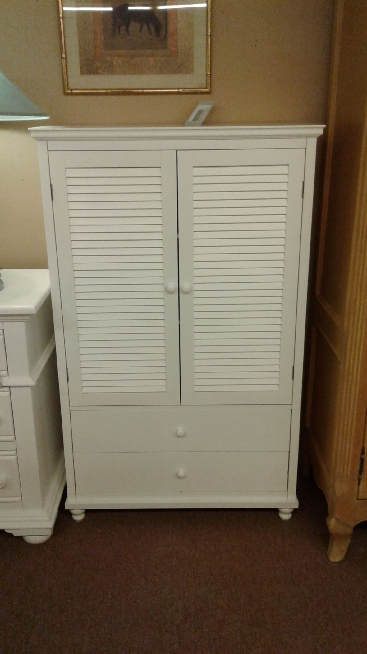 Small White Louvered Armoire Delmarva Furniture Consignment