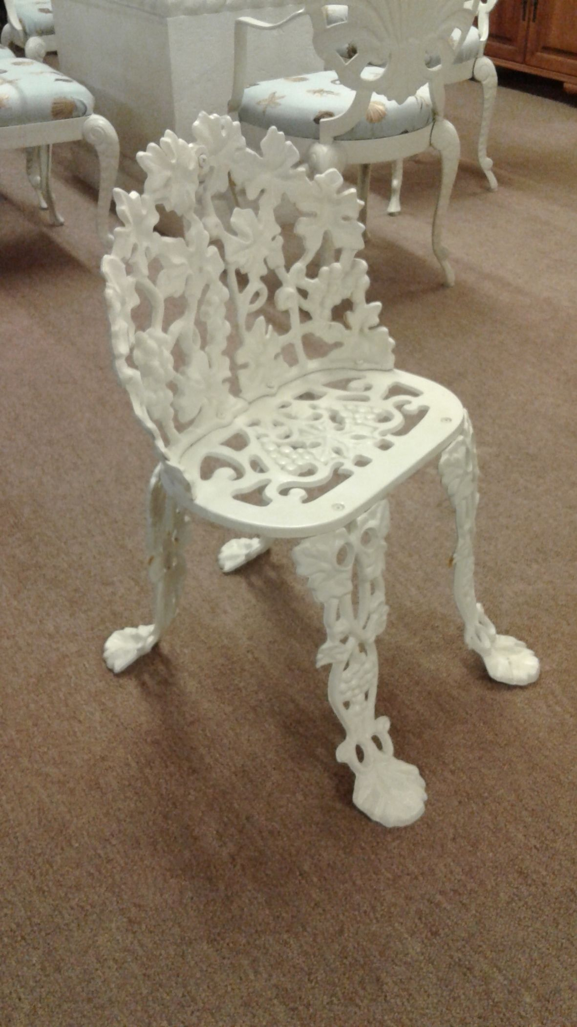White Cast Iron Garden Chair Delmarva Furniture Consignment