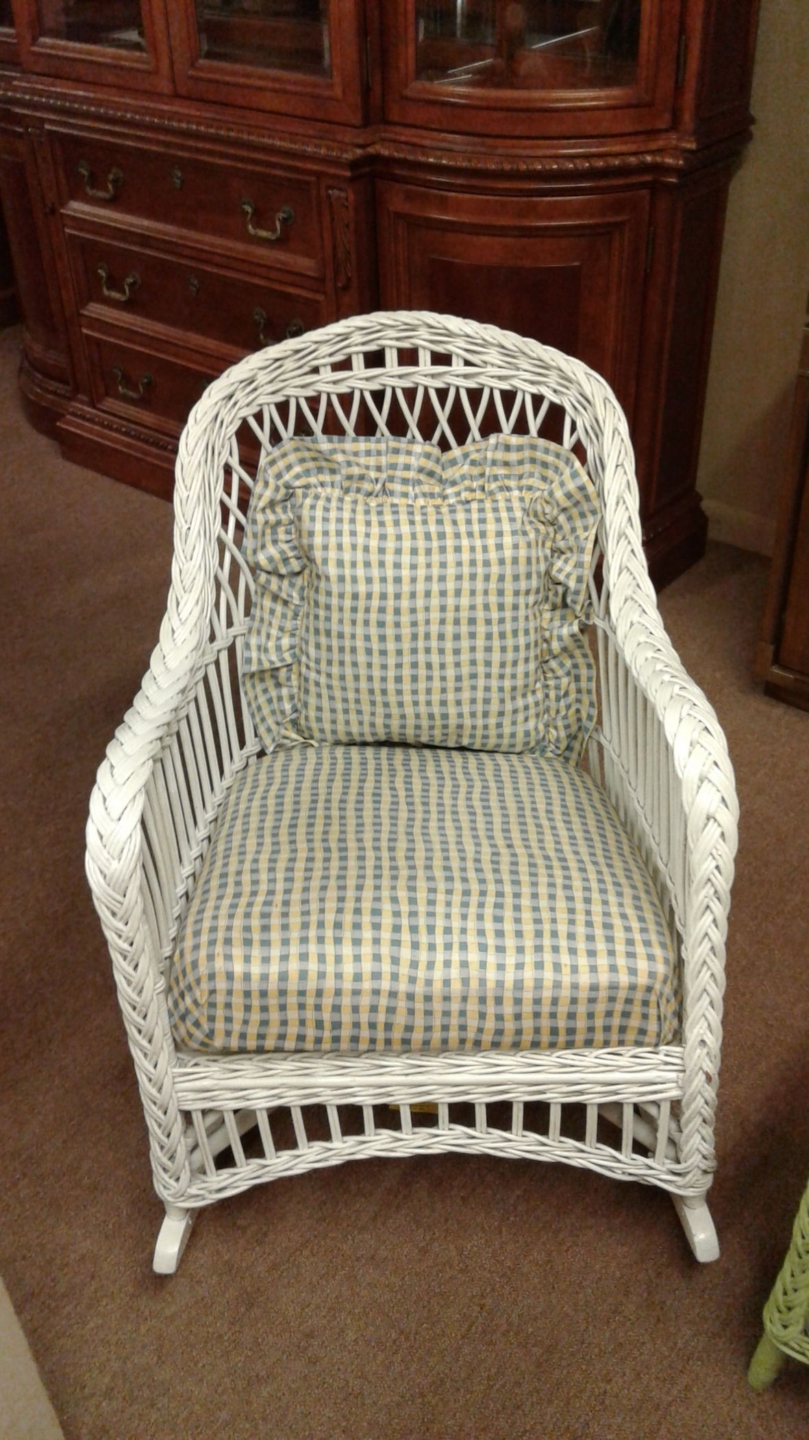 White Wicker Rocker Delmarva Furniture Consignment