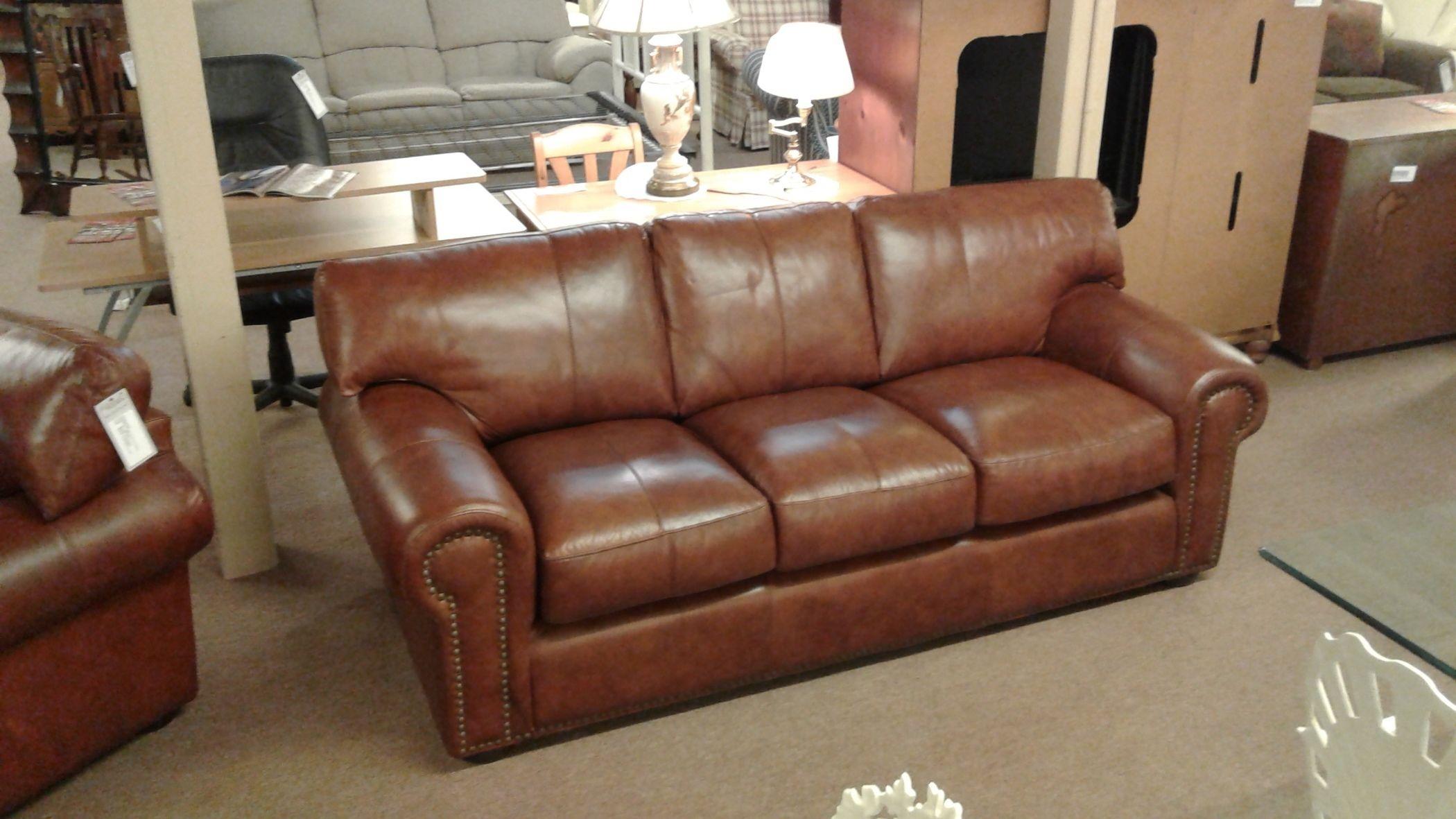 Picasso Cognac Leather Sofa Delmarva Furniture Consignment
