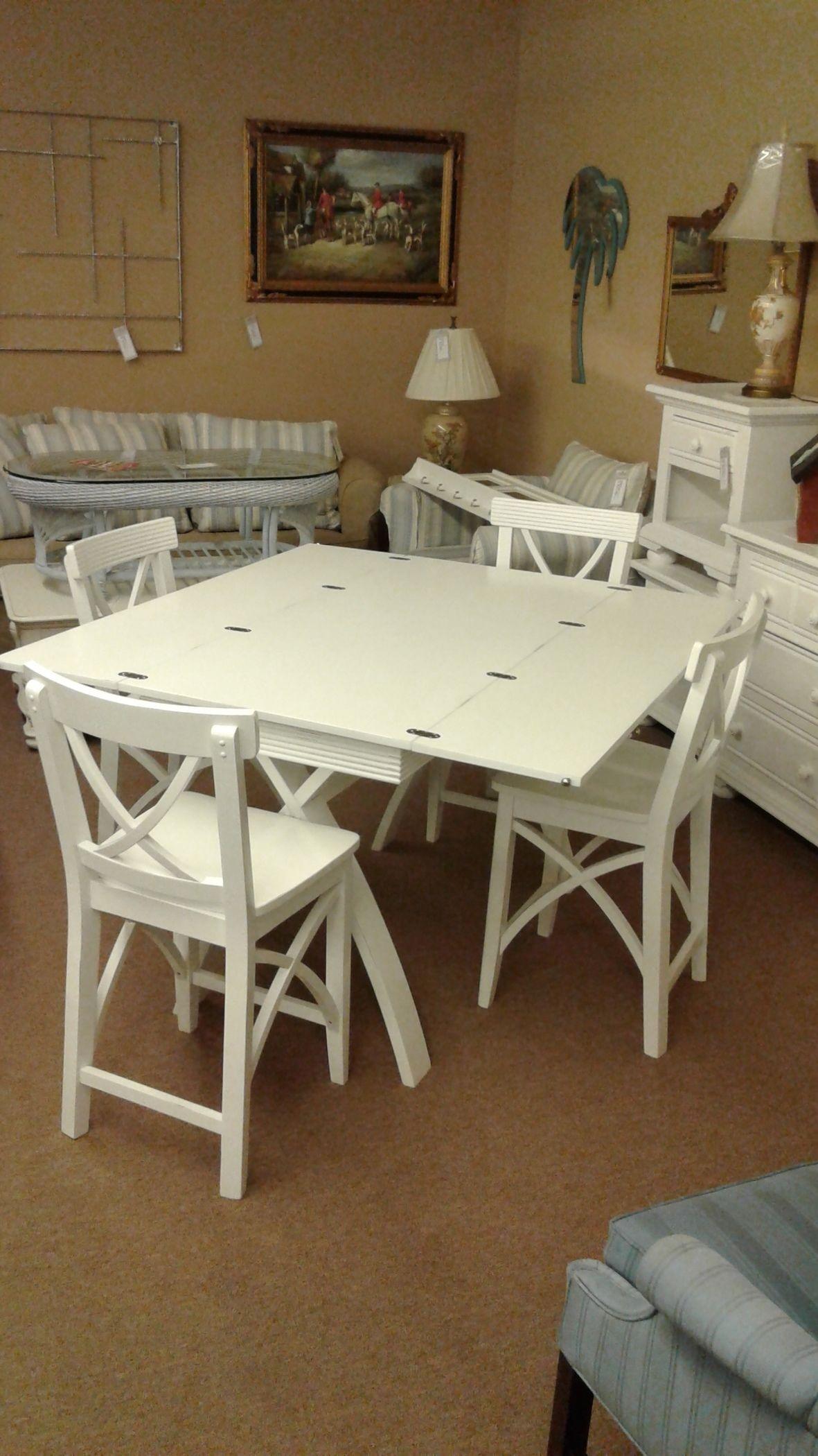 White Pub Table 4 Stools Delmarva Furniture Consignment