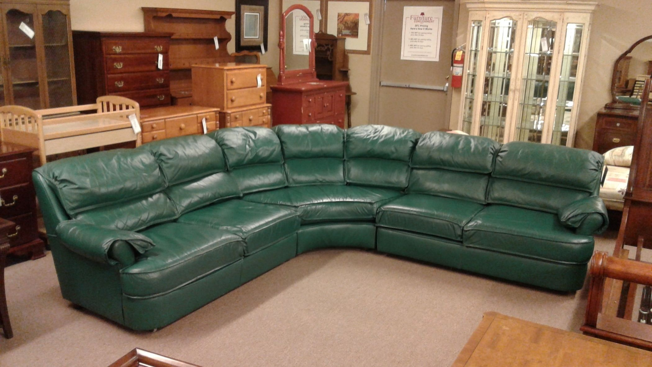 - 3 PC GREEN LEATHER SECTIONAL Delmarva Furniture Consignment