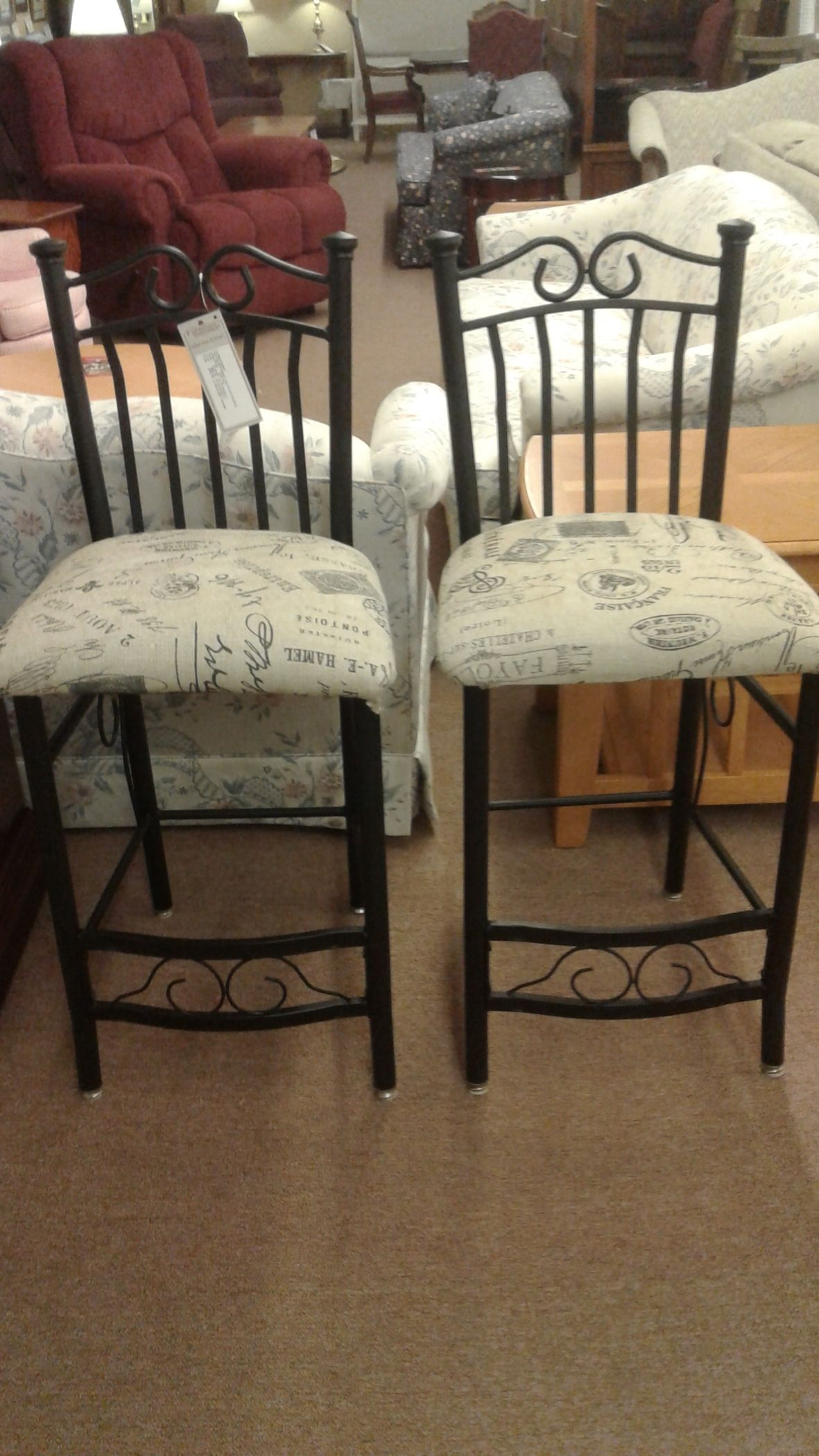 Pair Black Base Counter Stools Delmarva Furniture