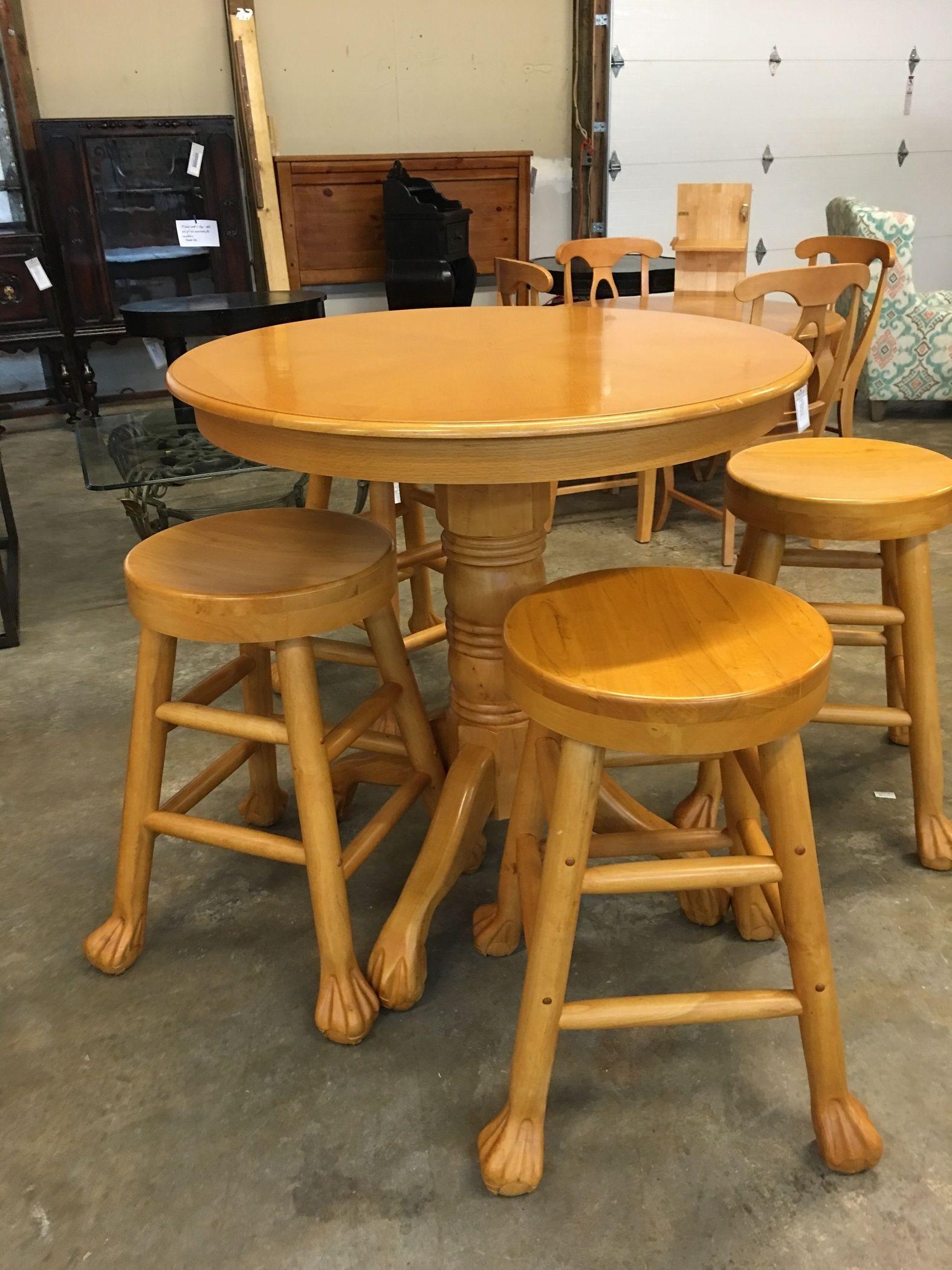 Oak 42 Quot Pub Table And 4 Stool Delmarva Furniture Consignment