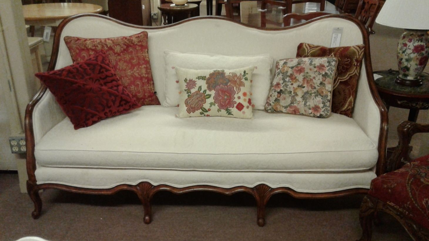 White Feather Down Filled French Country Sofa Delmarva