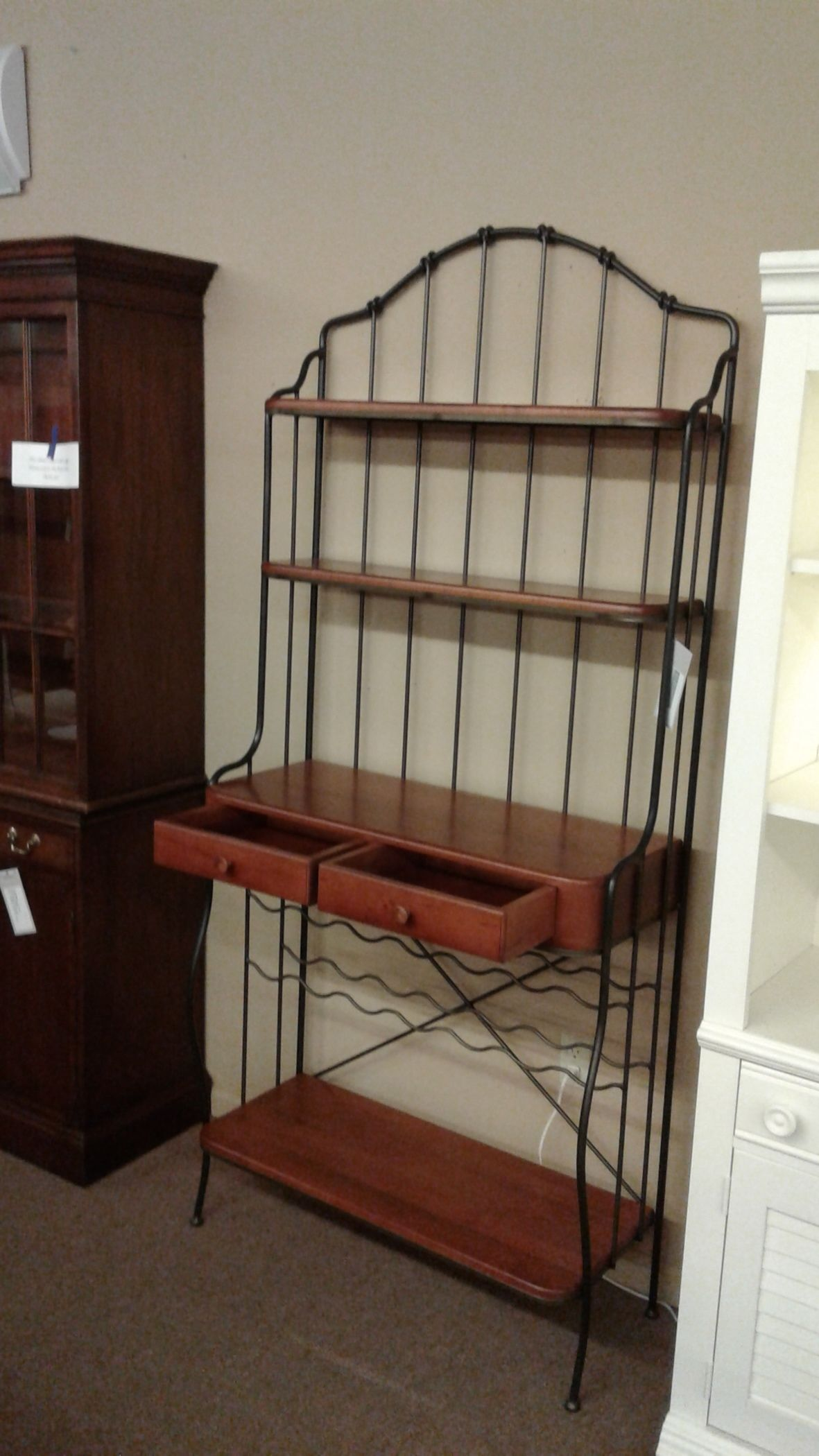 Wrought Iron Wood Bakers Rack Delmarva Furniture Consignment