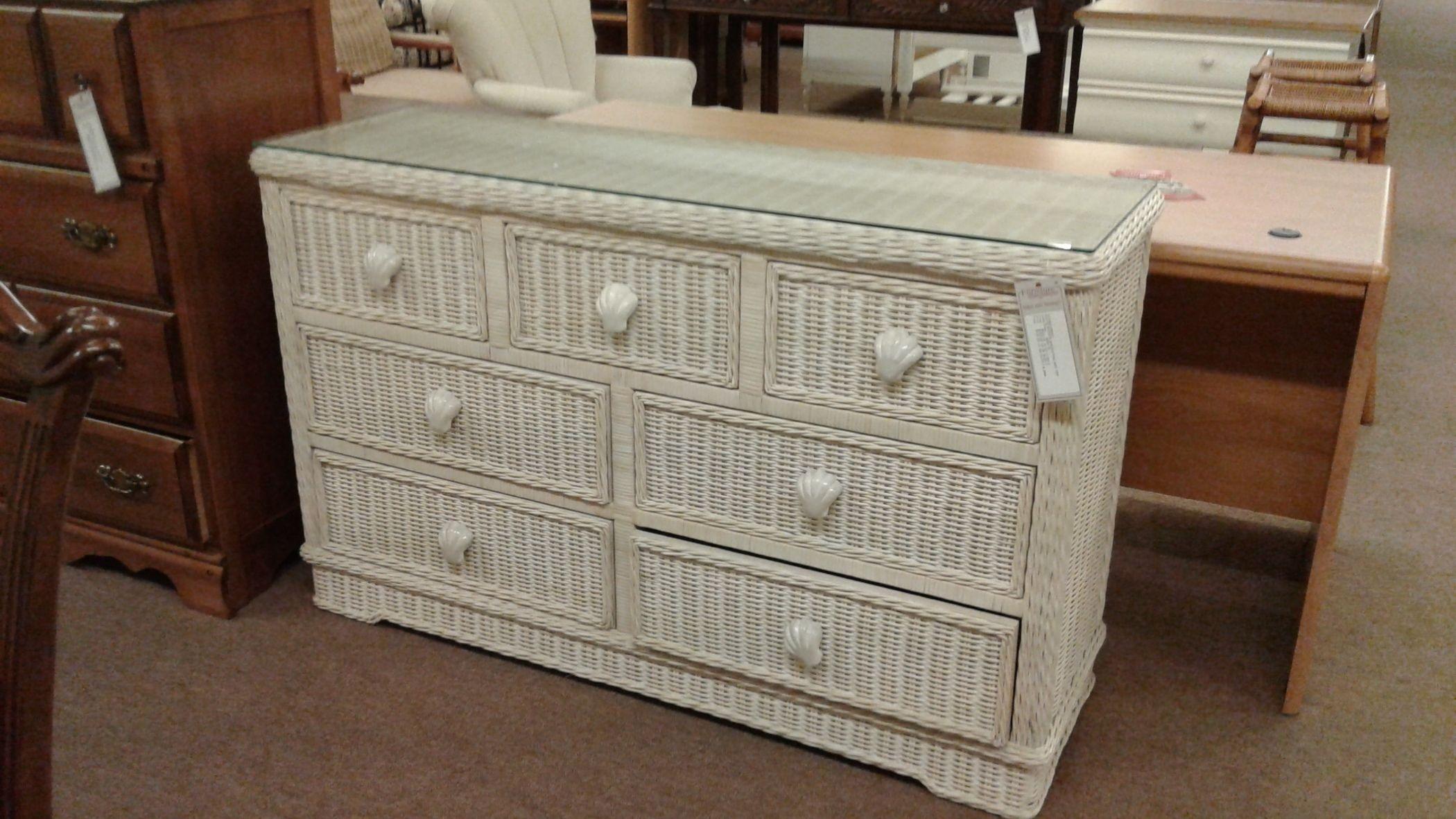 White Wicker Dresser Glass Top Delmarva Furniture