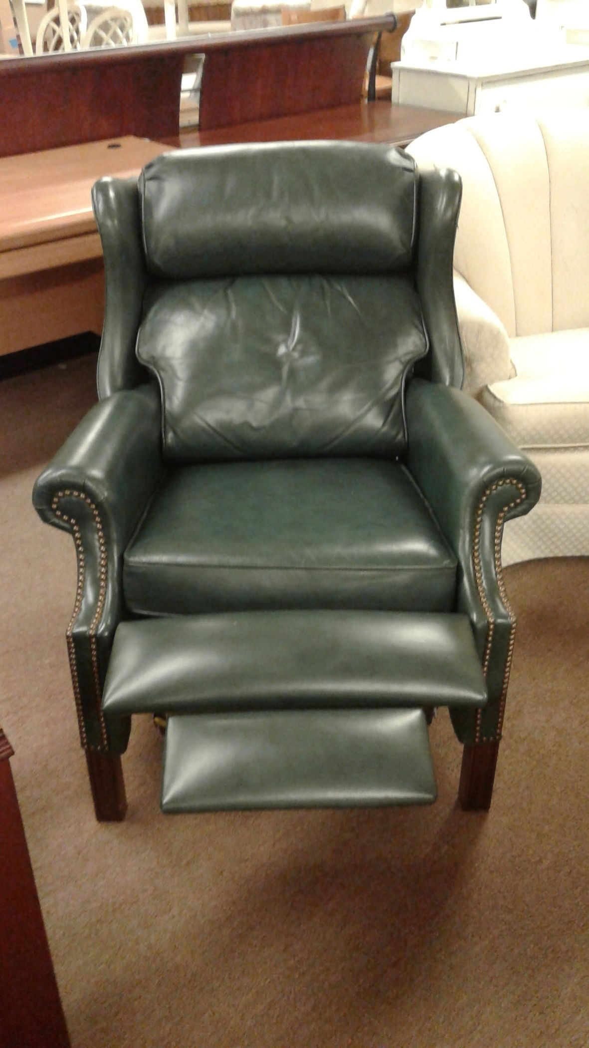 Hunter Green Leather Recliner Delmarva Furniture Consignment