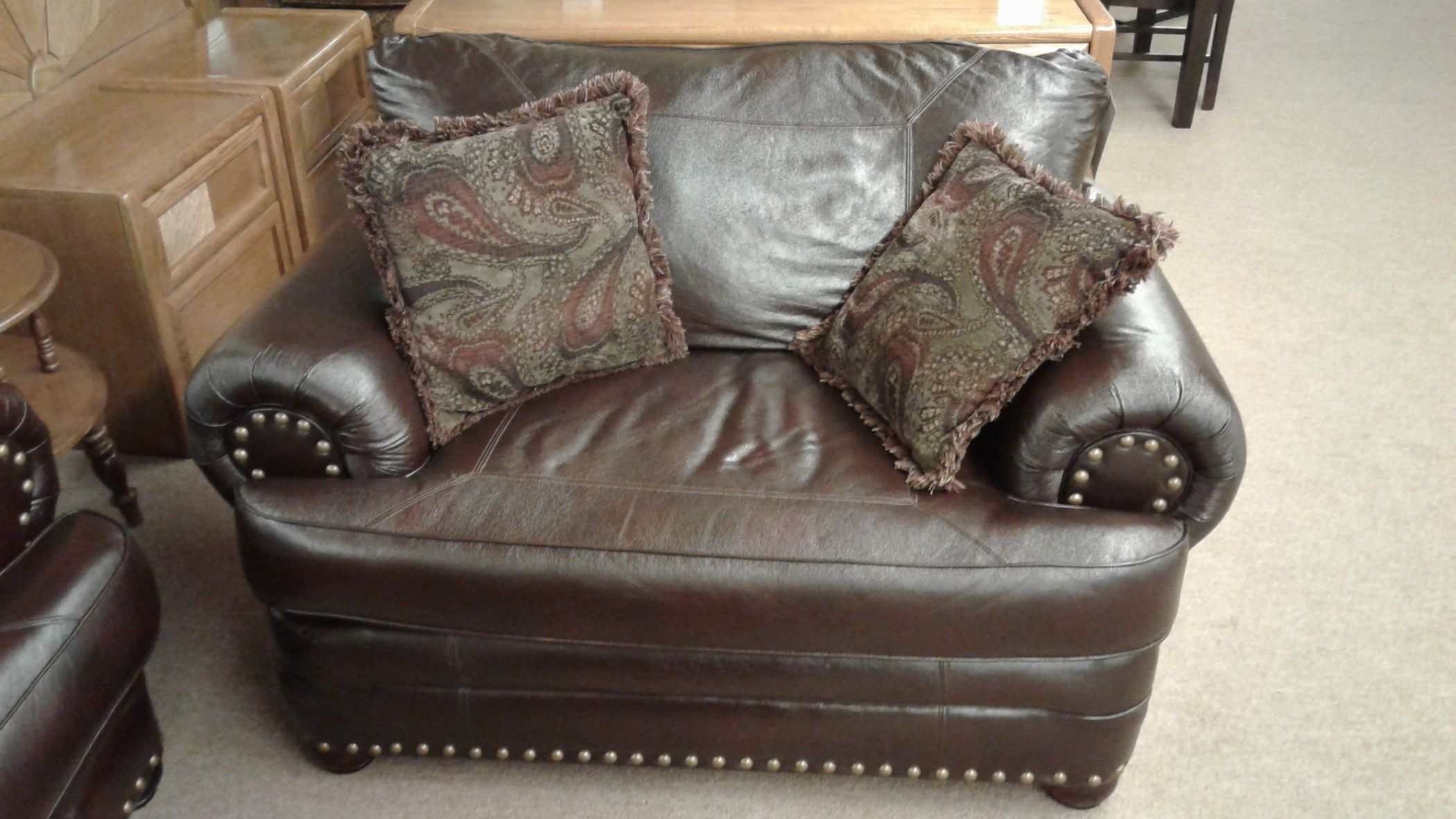 Faux Leather Chair And A Half Delmarva Furniture Consignment