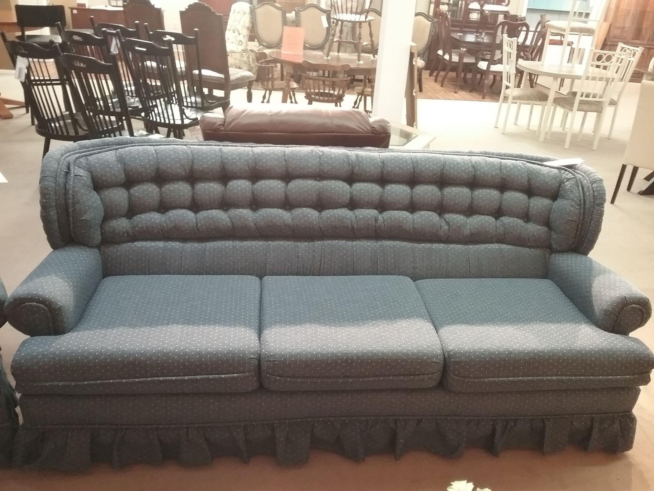 Blue Sofa W Pink Specs Delmarva Furniture Consignment