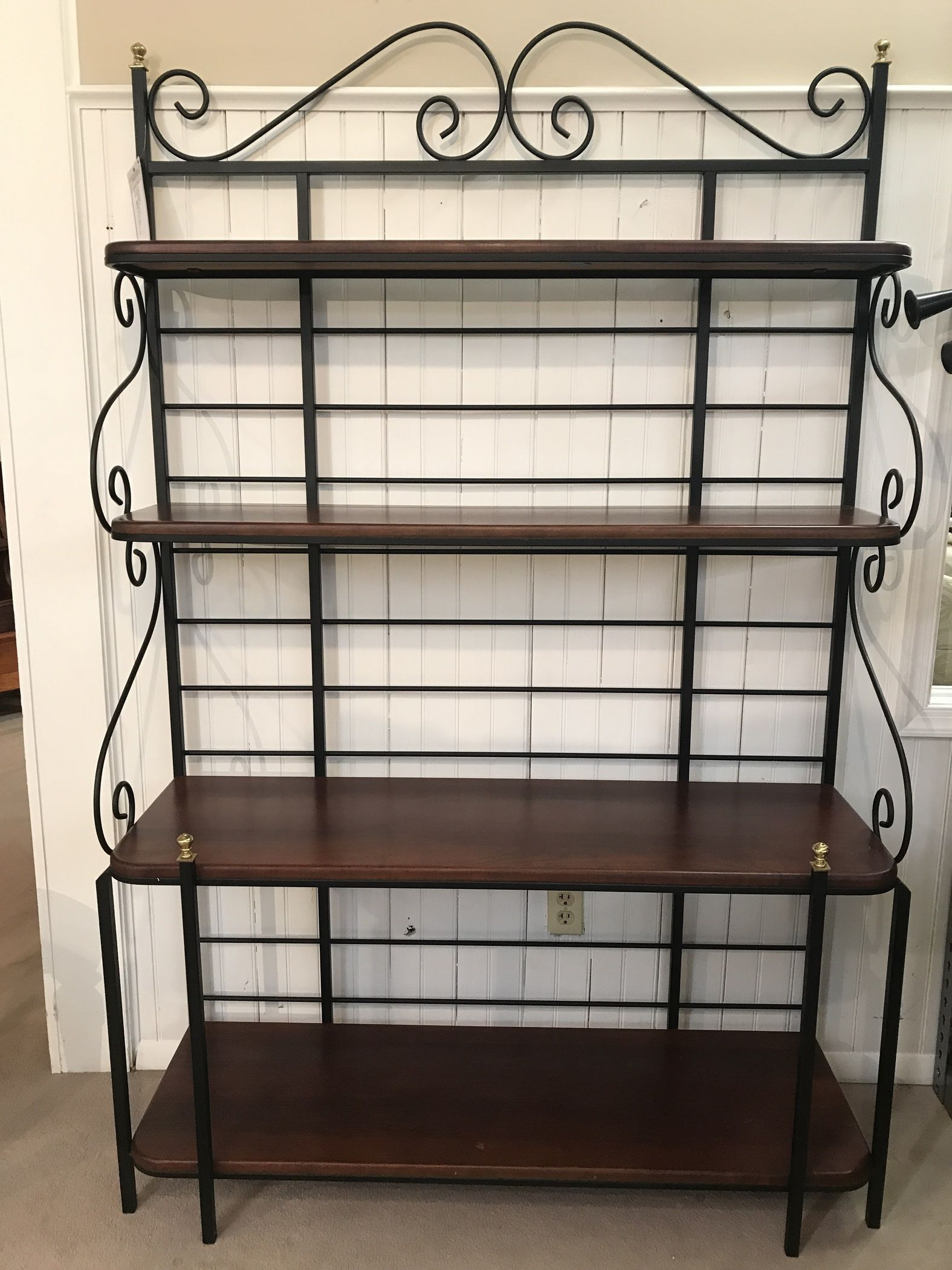 Black Rod Iron Dining Room Glass With Bakers Rack