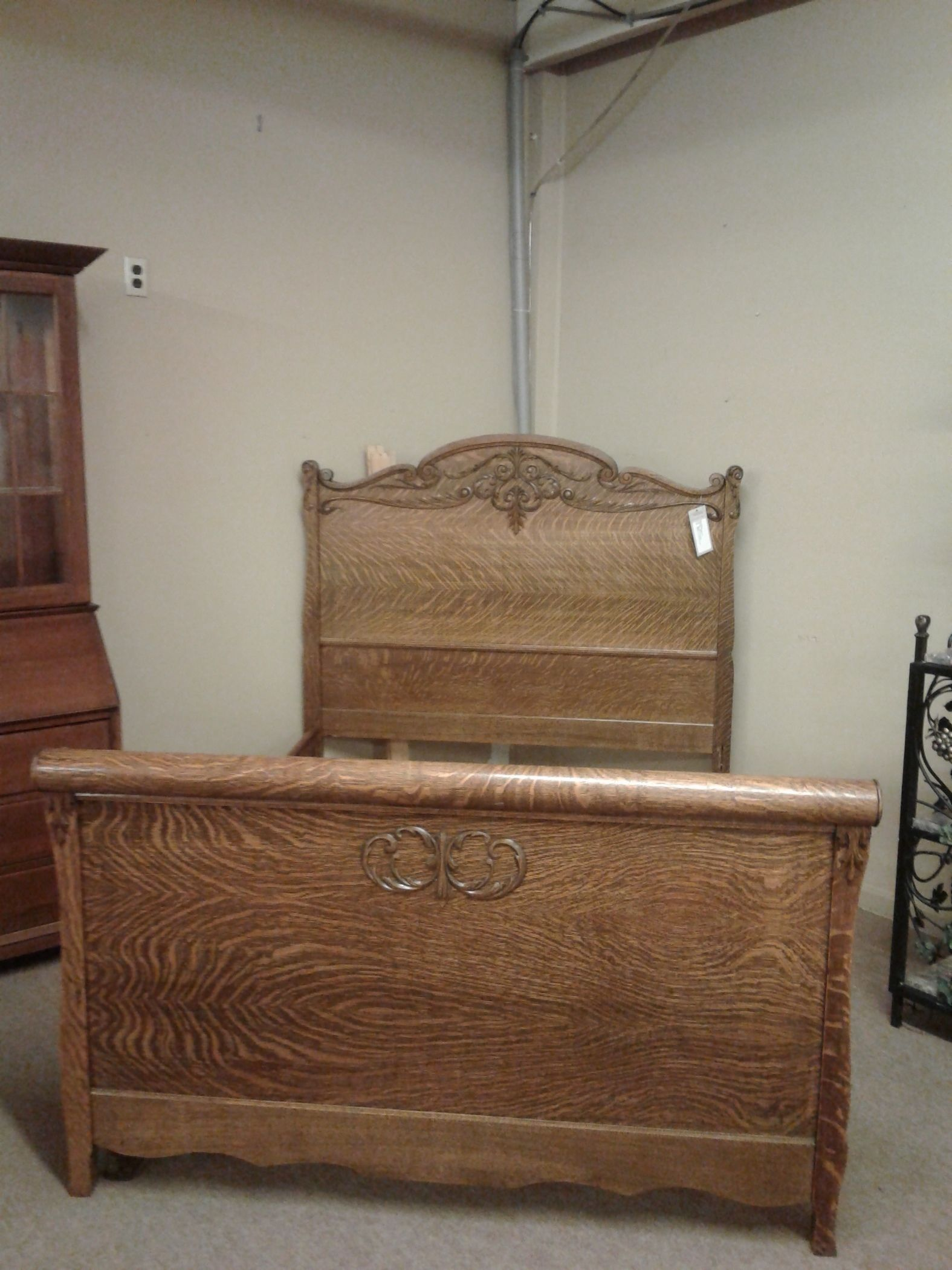 Tiger Oak Antique Bed Delmarva Furniture Consignment