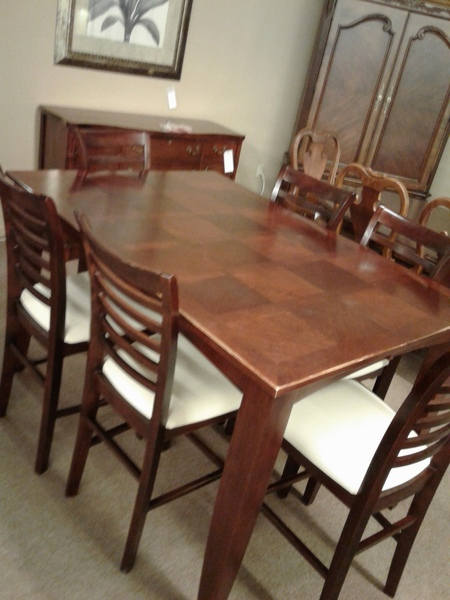Cherry pub table w6 chairs delmarva furniture consignment cherry pub table w6 chairs watchthetrailerfo