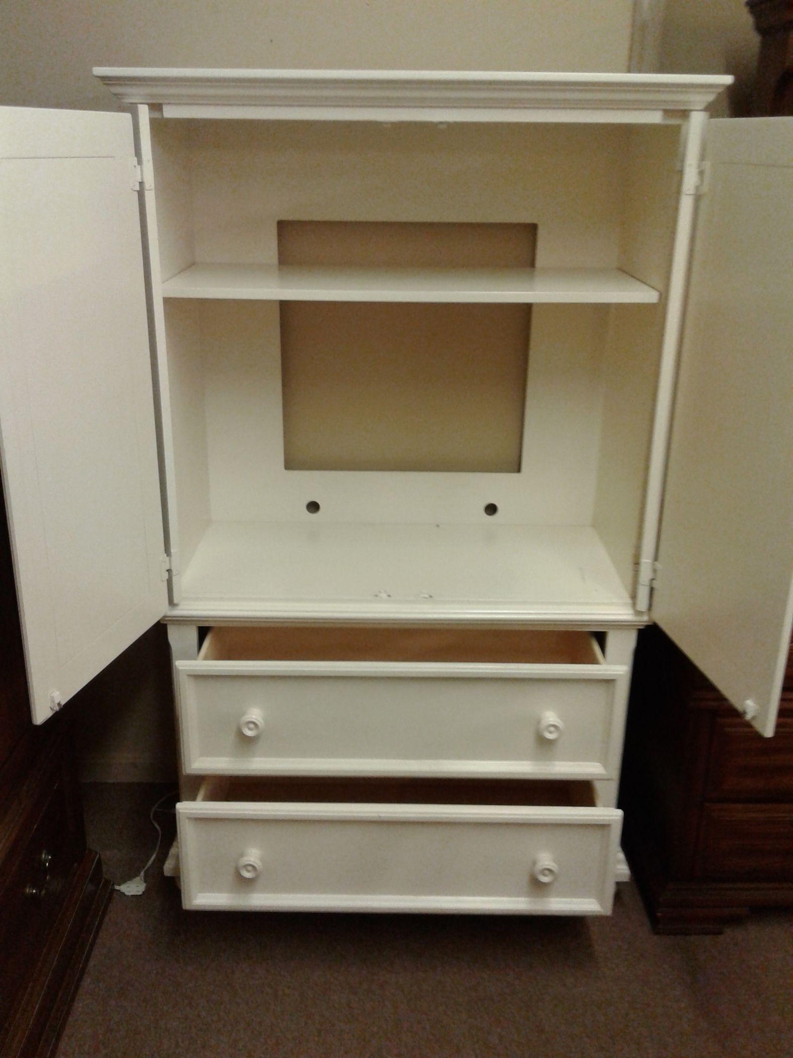 OFF-WHITE TV ARMOIRE | Delmarva Furniture Consignment
