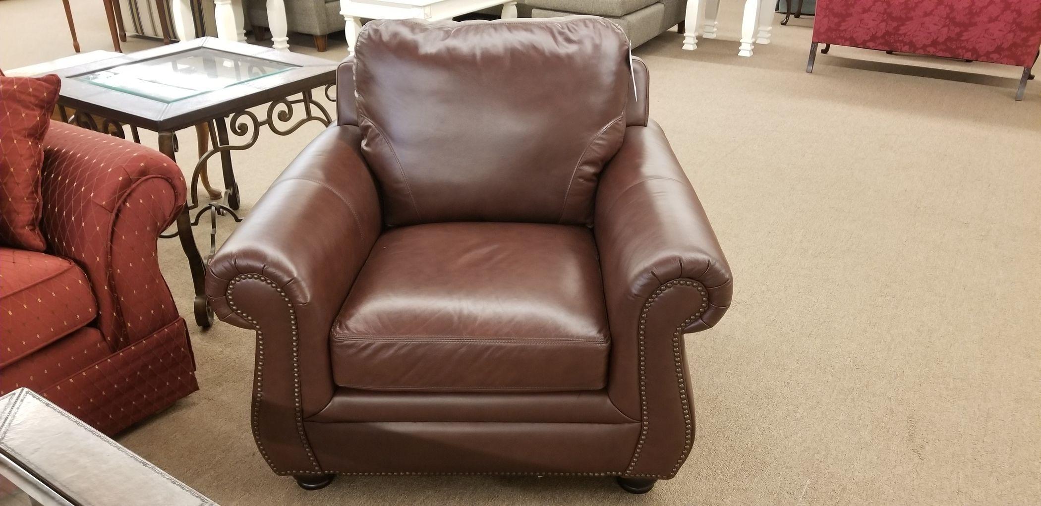 LEATHER CHAIR W/NAILHEAD TRIM | Delmarva Furniture Consignment