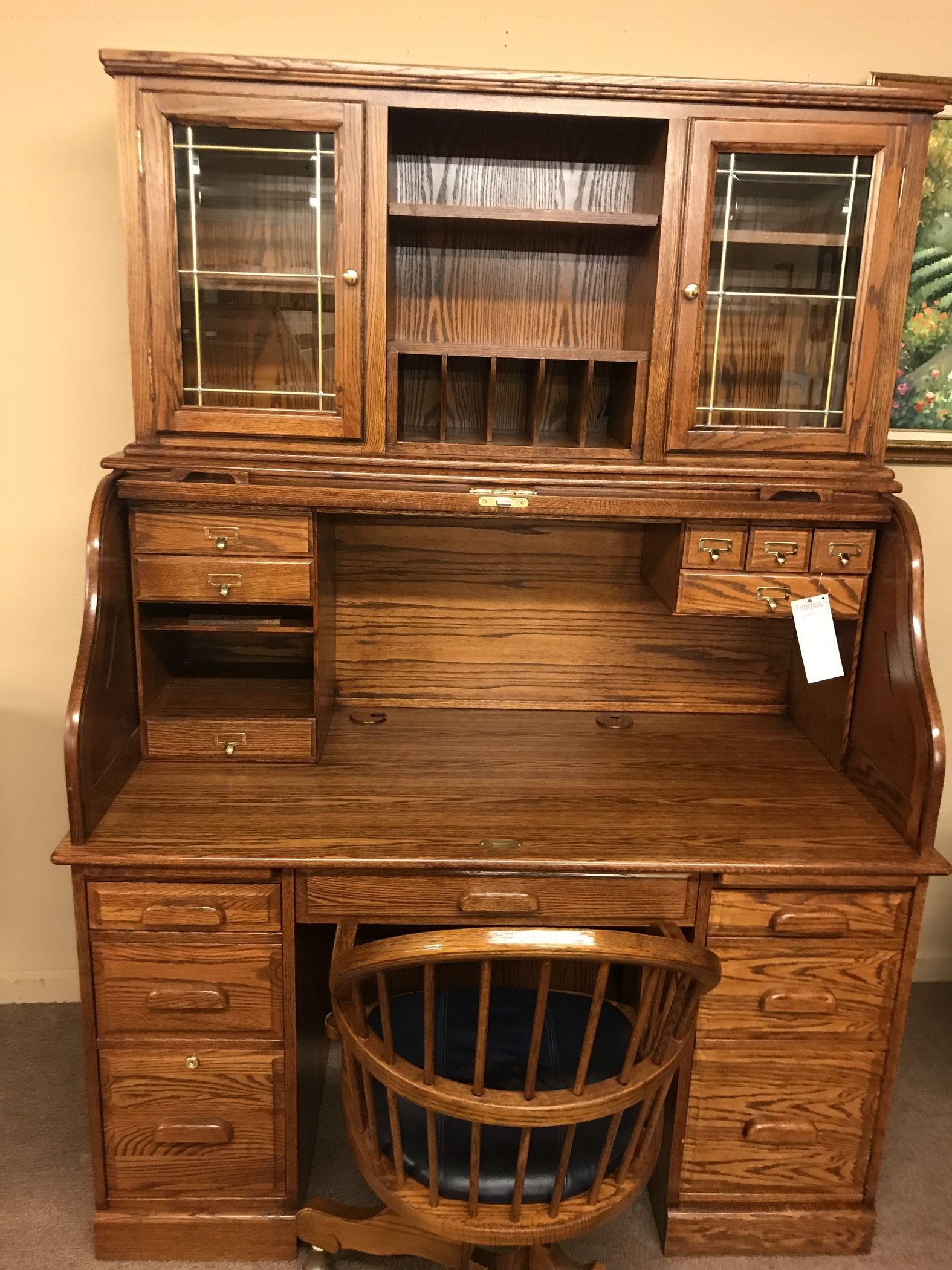 Oak Roll Top Desk W Hutch Delmarva Furniture Consignment