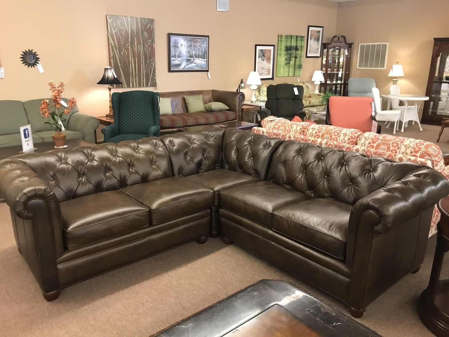 POTTERY BARN LEATHER SECTIONAL | Delmarva Furniture ...