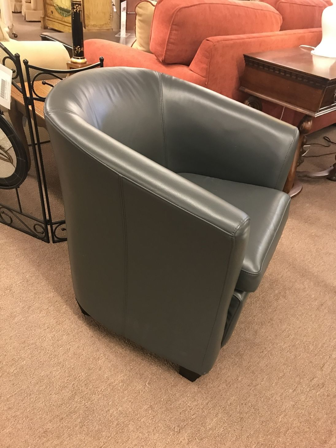 Grey Faux Leather Tub Chair Delmarva Furniture Consignment
