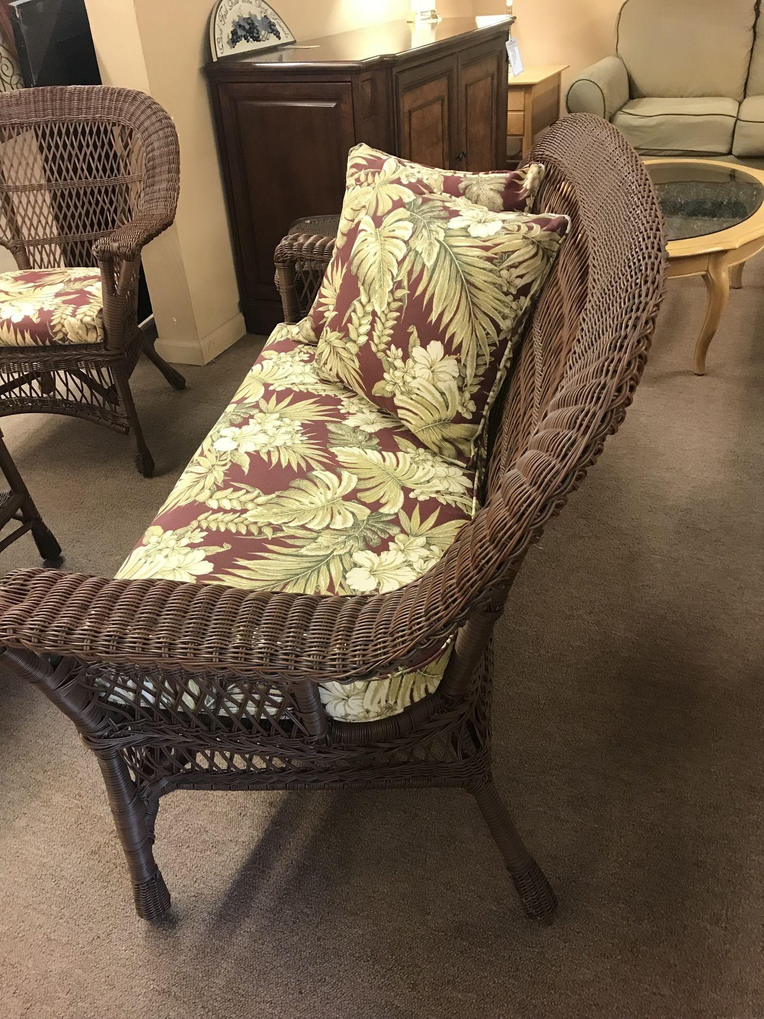 Brown Vinyl Wicker Patio Set Delmarva Furniture Consignment