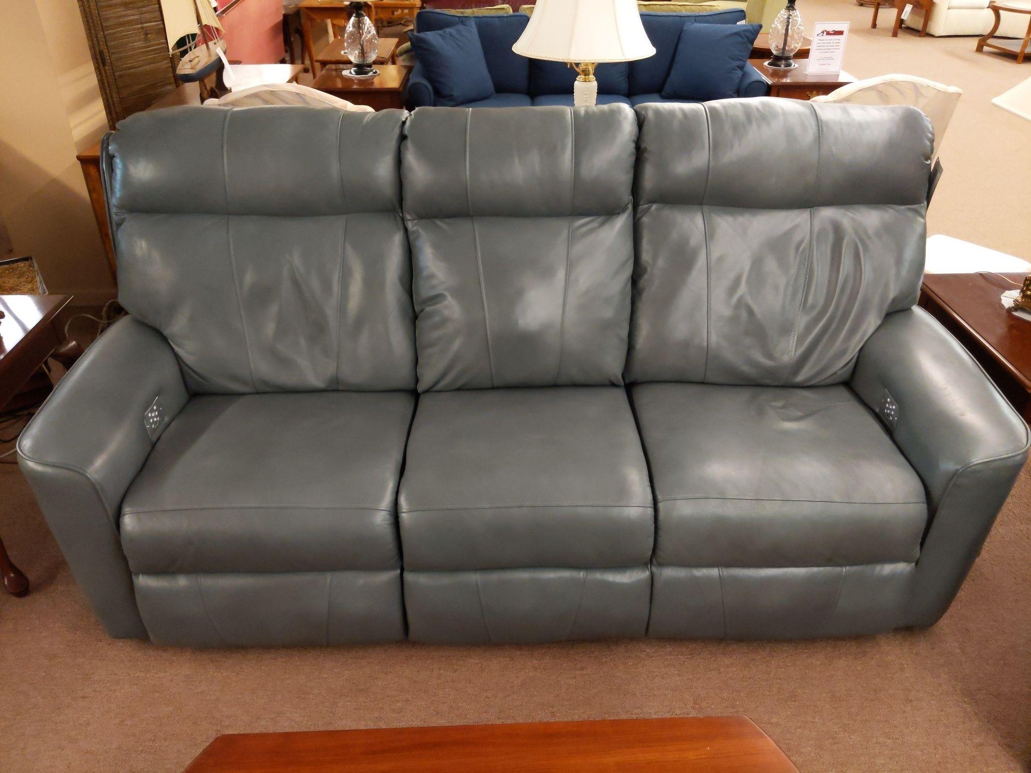 Power Rec Gray Leather Sofa Delmarva Furniture Consignment