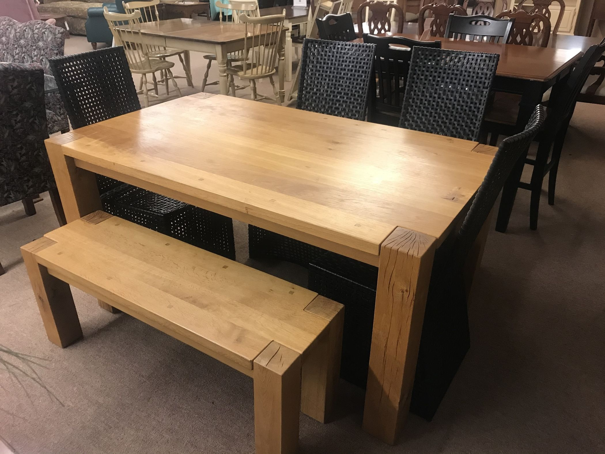 Butcher Block Dining Table Set Delmarva Furniture Consignment