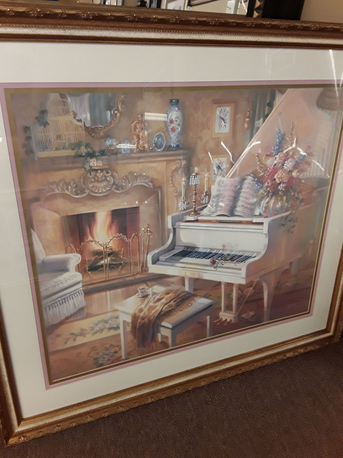 Medium piano by the fireplace