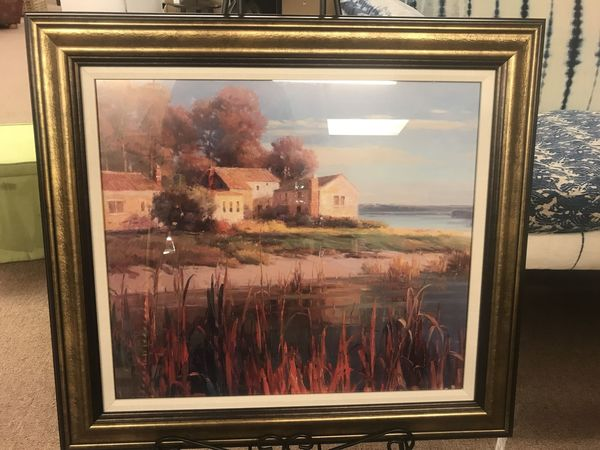 Small harbor home framed art