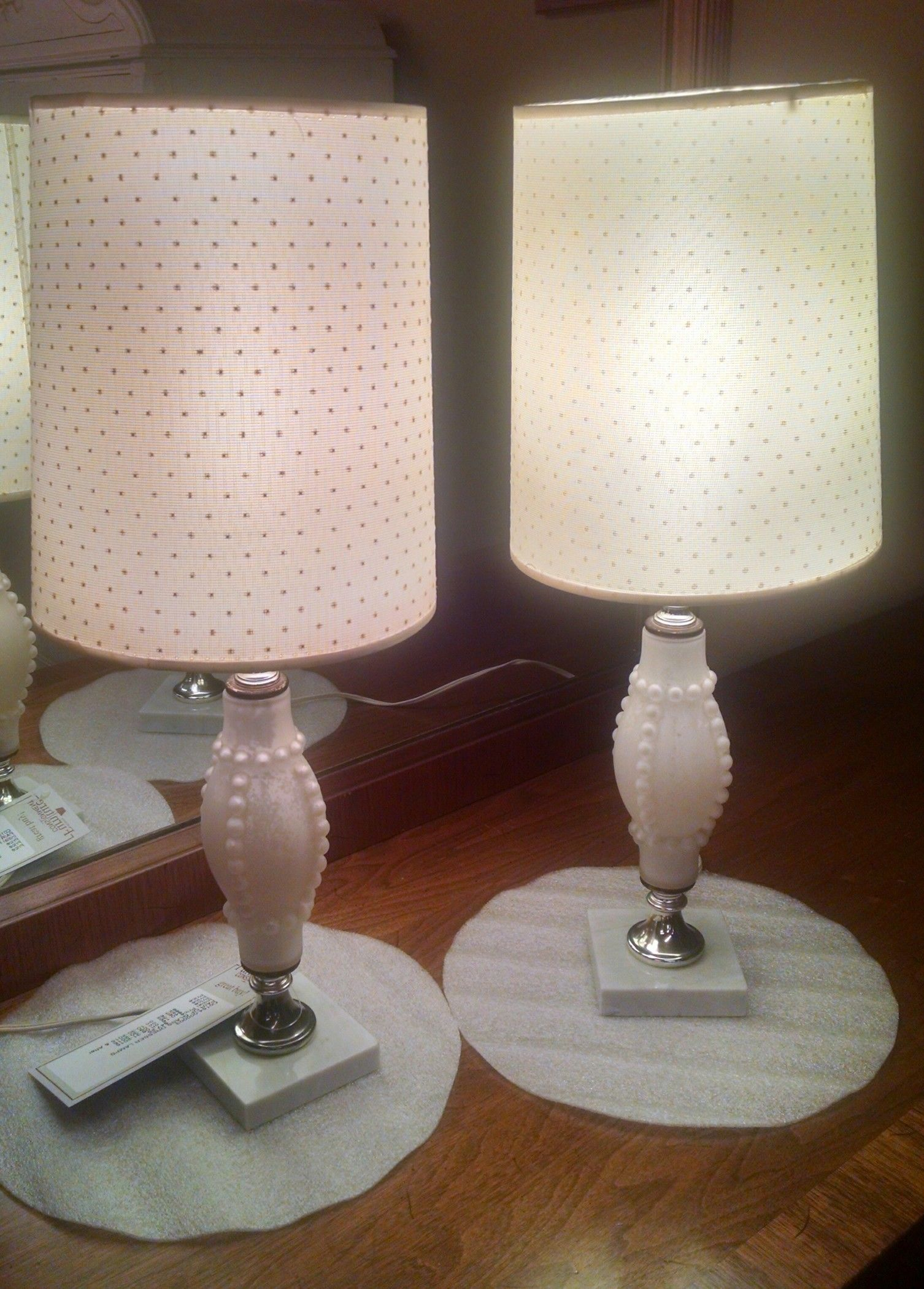 PAIR OF GLASS DRESSER LAMPS
