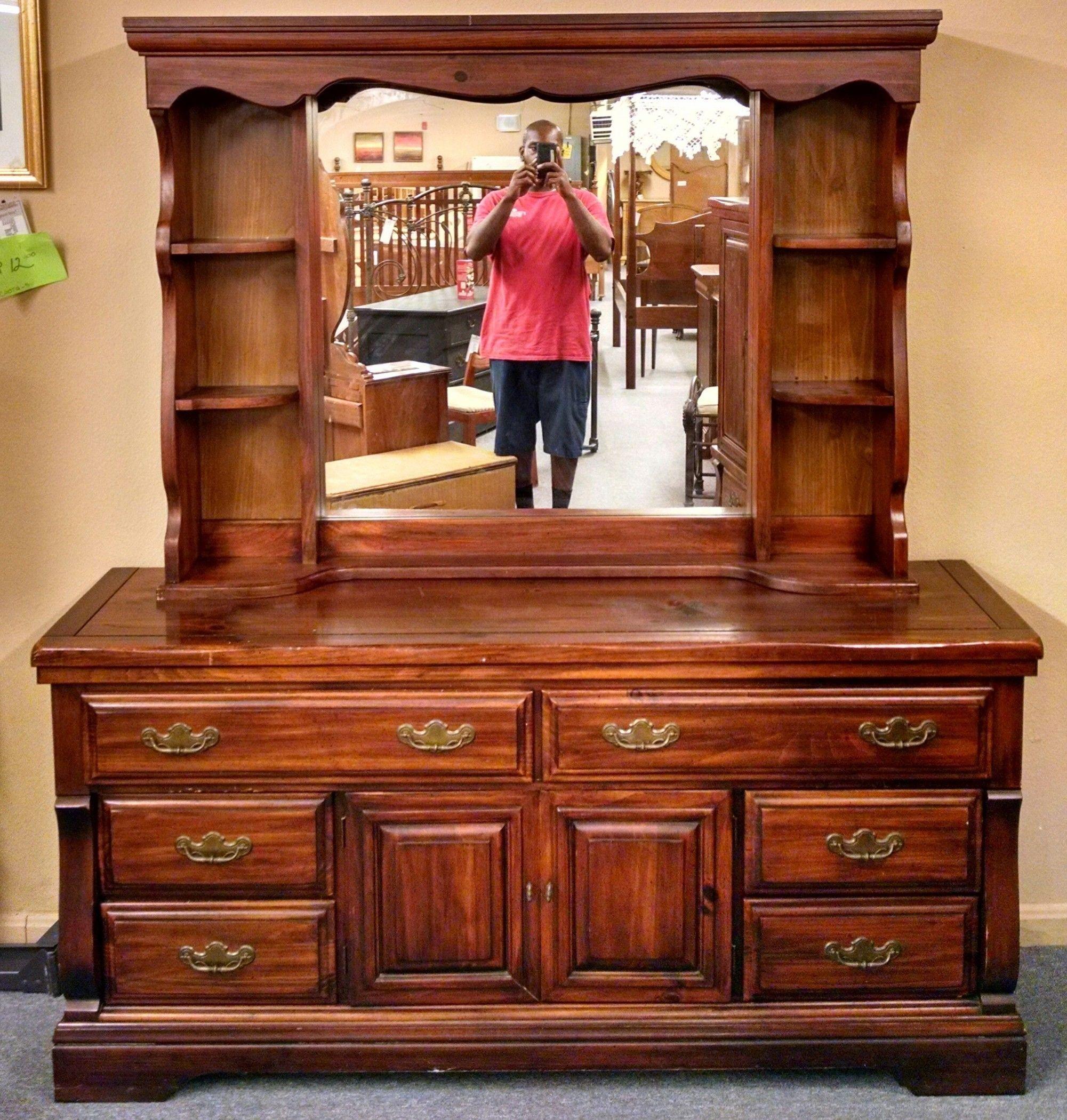 Pine Dresser Hutch Mirror Delmarva Furniture Consignment