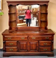 dresser with hutch mirror lighted mirror thumb 20151008 194708 pine dresserhutch mirror delmarva furniture consignment