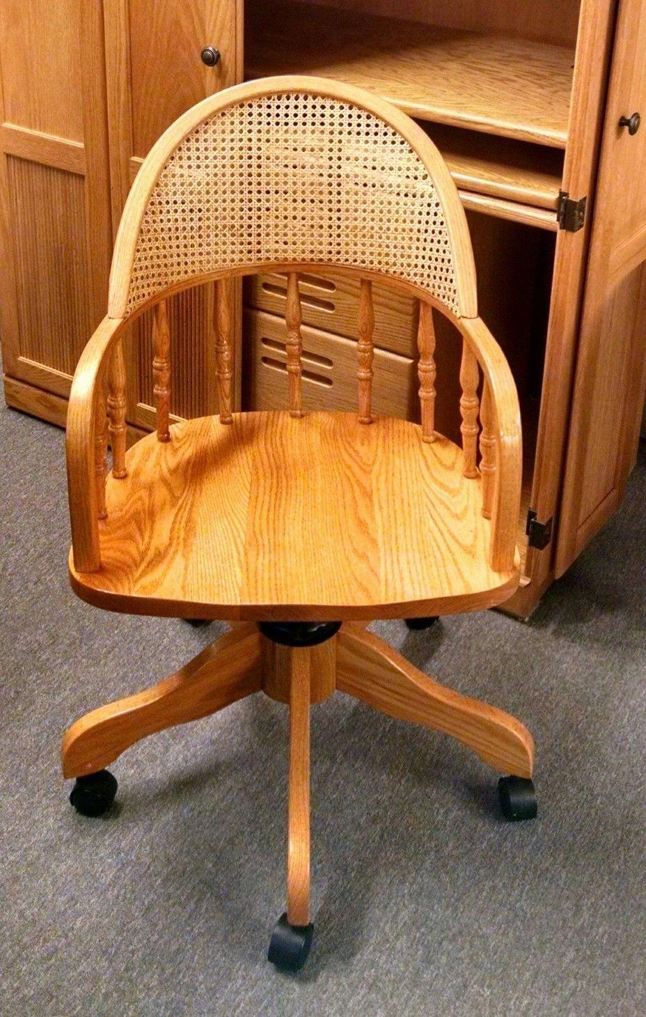 Oak Desk Chair Cane Back Delmarva Furniture Consignment