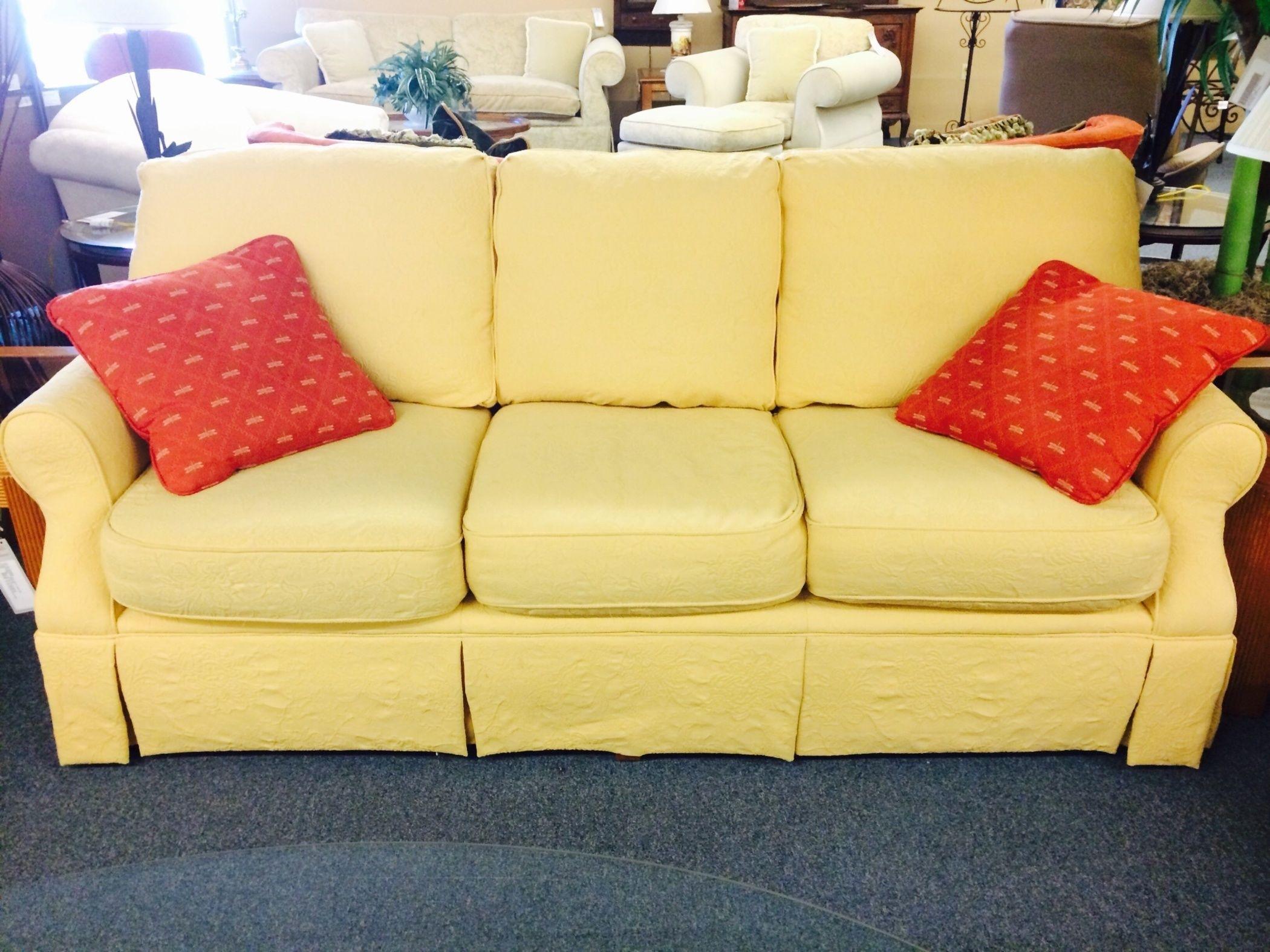 Hickory Hill Yellow Sofa Delmarva Furniture Consignment