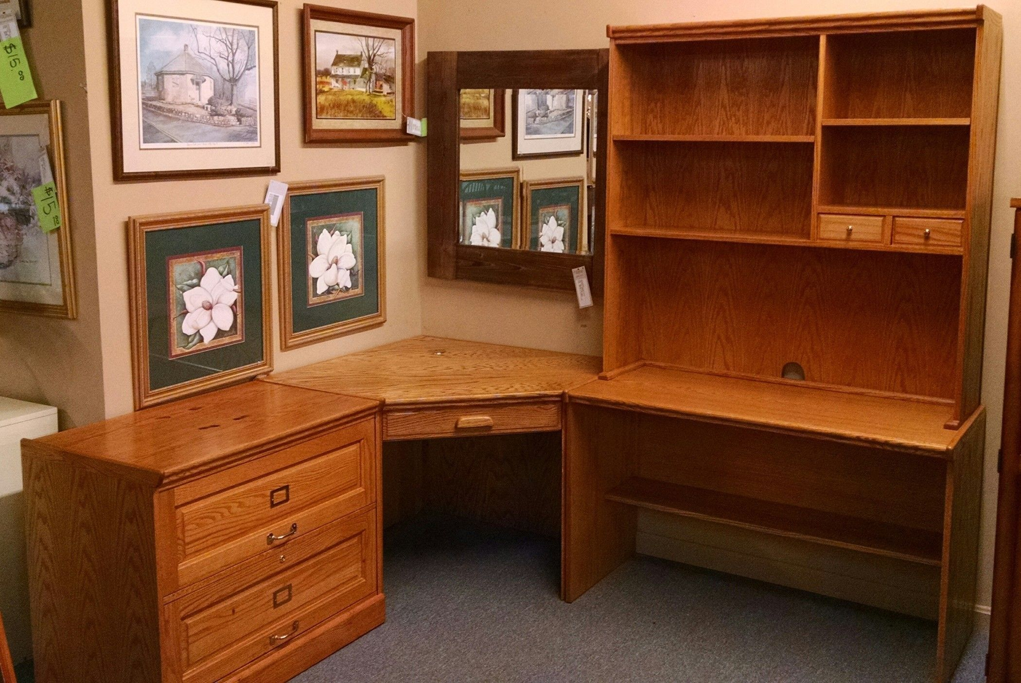 3 Piece Office Furniture ~ Piece oak office furniture delmarva consignment