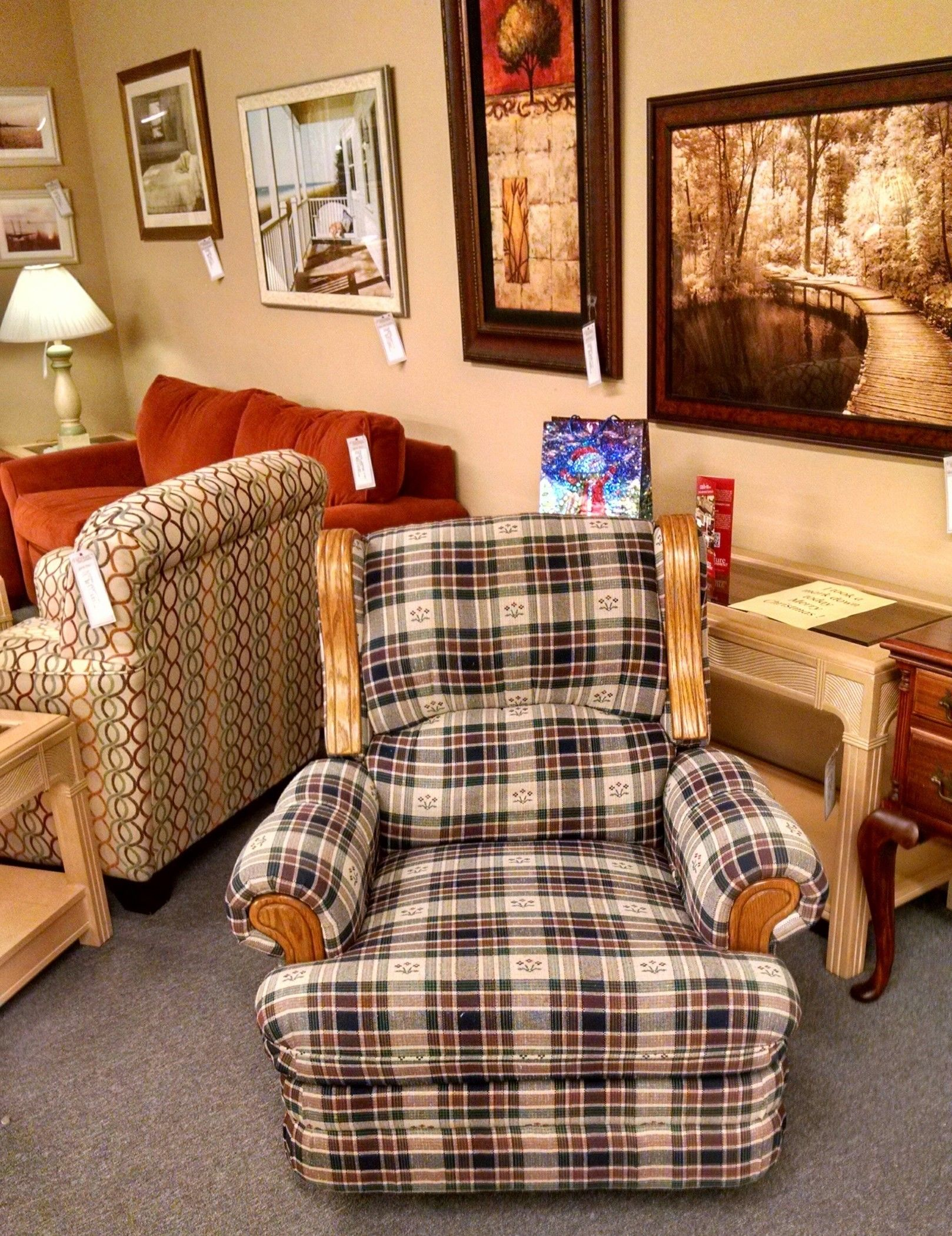 Plaid Country Recliner Chair Delmarva Furniture Consignment